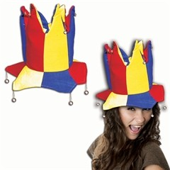 Red, Yellow, and Blue Velvet Jester Hat