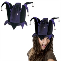 Purple and Black Velvet Jester Hat
