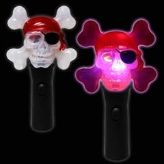LED Pirate Skull Spinner Wand -7""