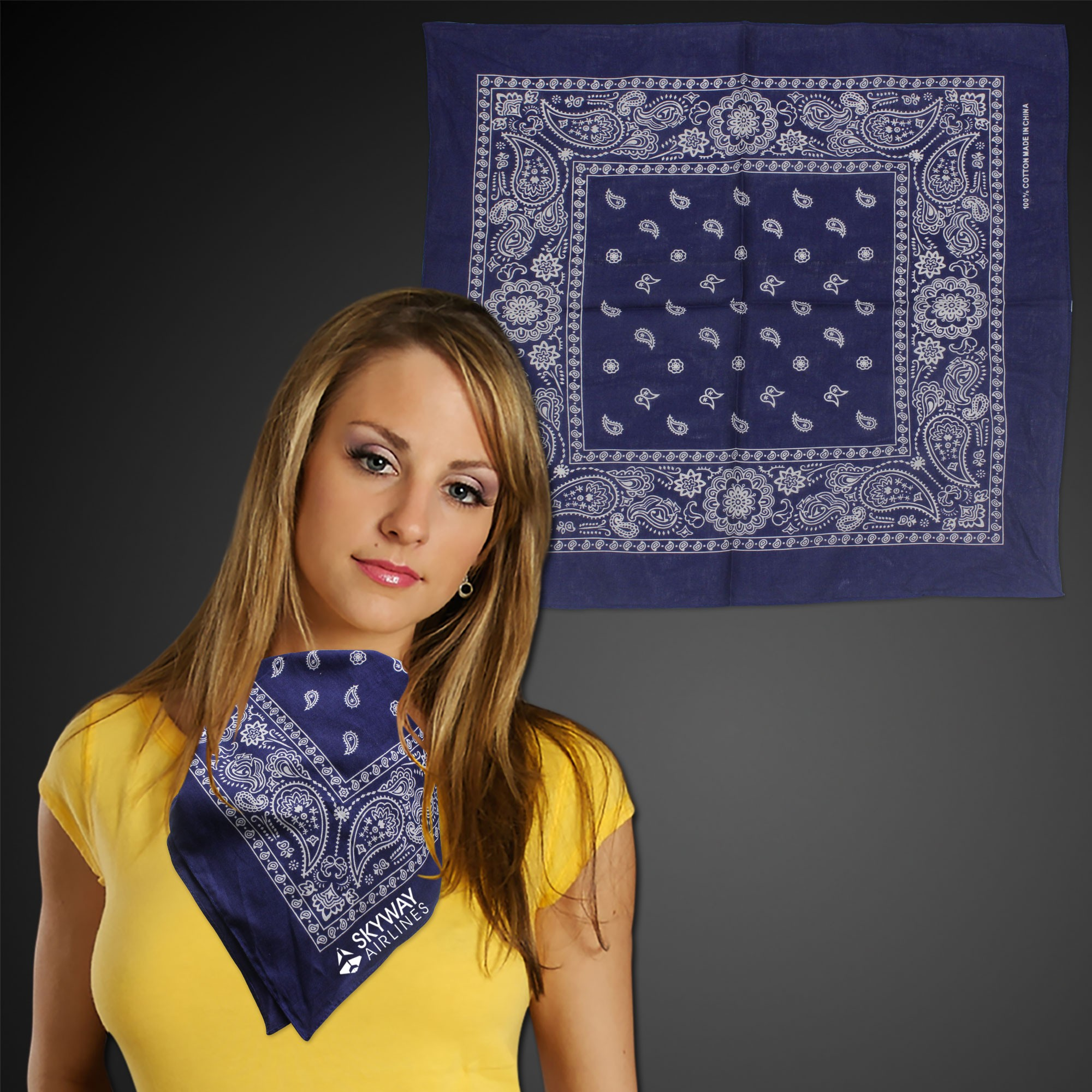 "Blue 22"" x 22"" Cotton Paisley Bandanas"