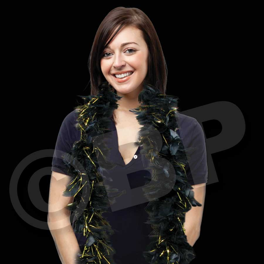 Black Feather Boa with Gold Tinsel Accents