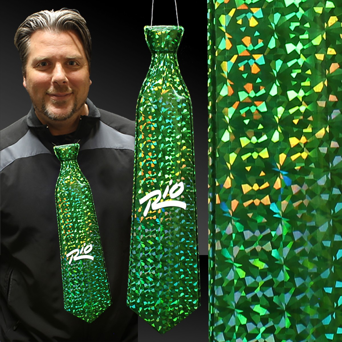 Green Prismatic Plastic Neckties