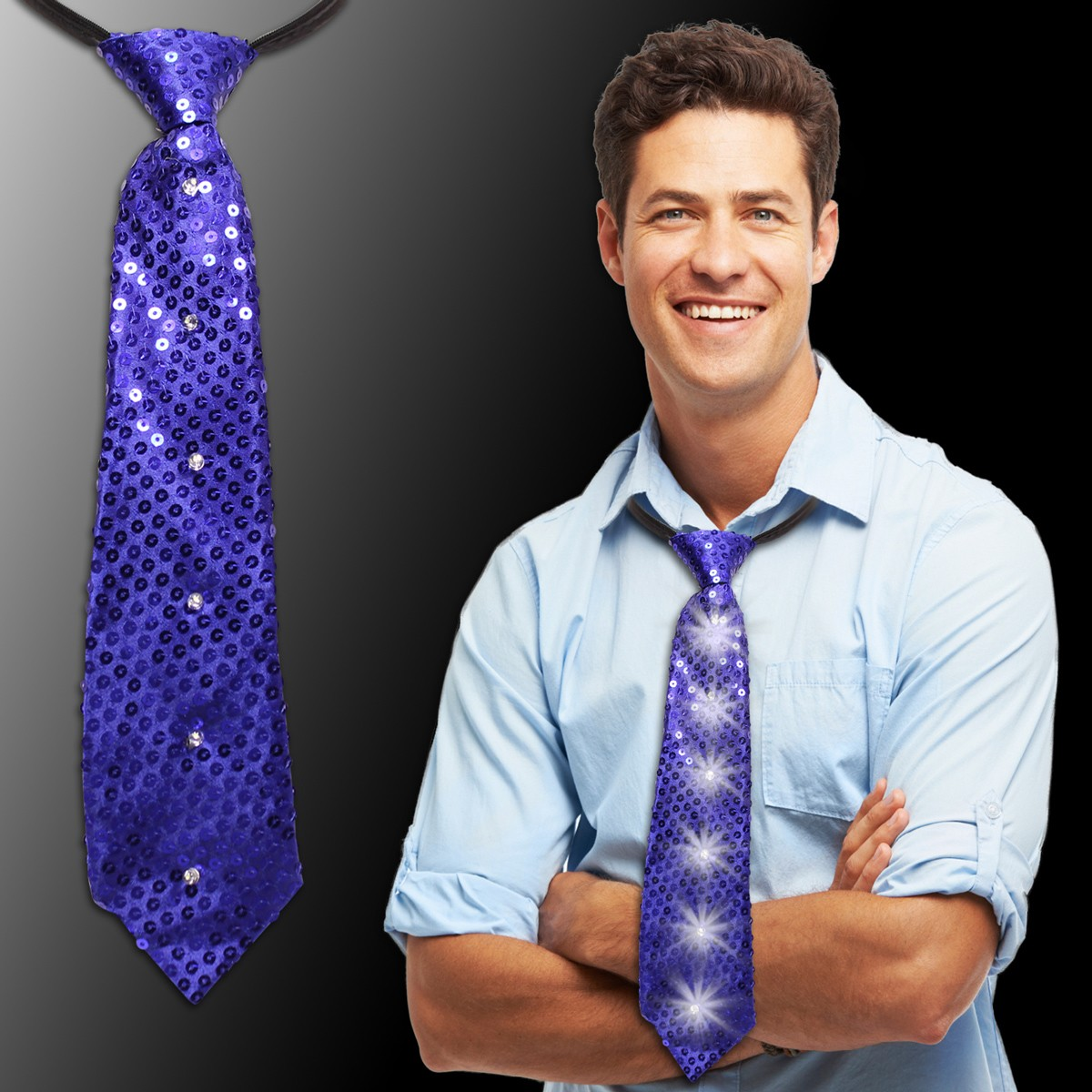 Blue Sequin LED Neckties - 14""