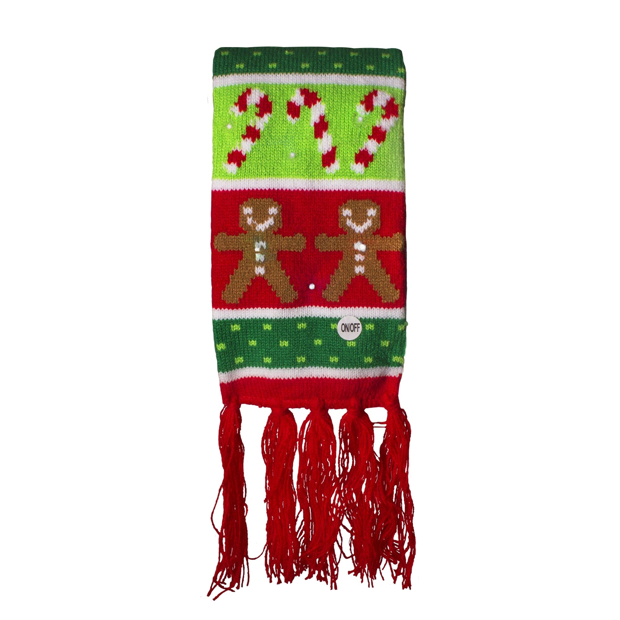 18dea0e6f90cb Gingerbread and Candy Cane LED Scarf. Double click on above image to view  full picture