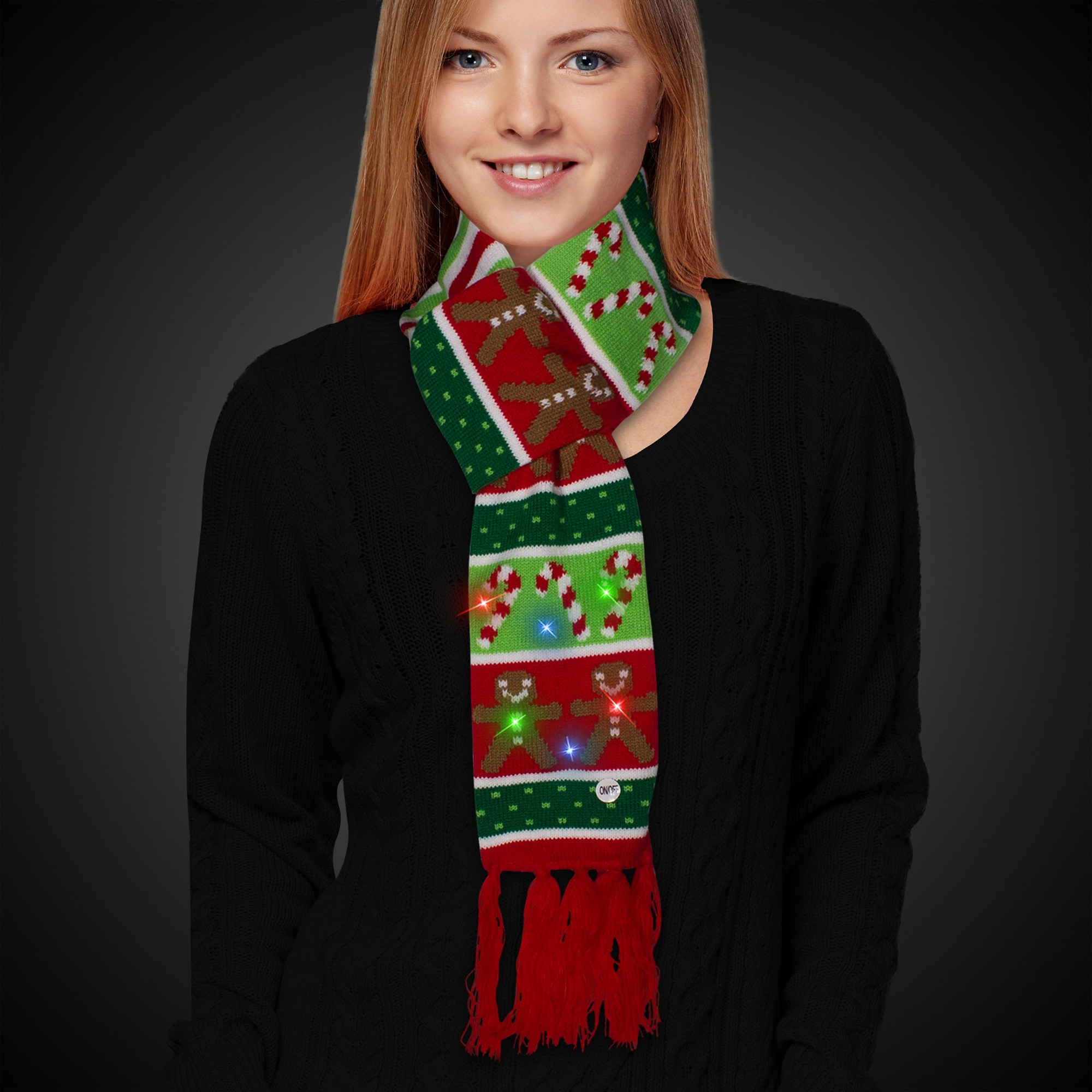 Gingerbread and Candy Cane LED Scarf