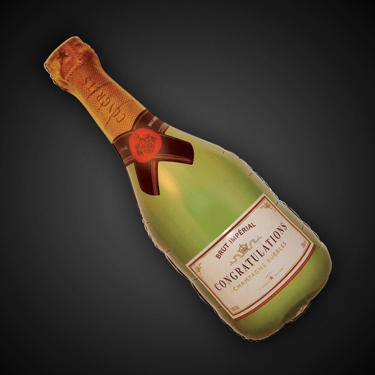 Champagne Bottle Metallic Balloon - 36 Inch
