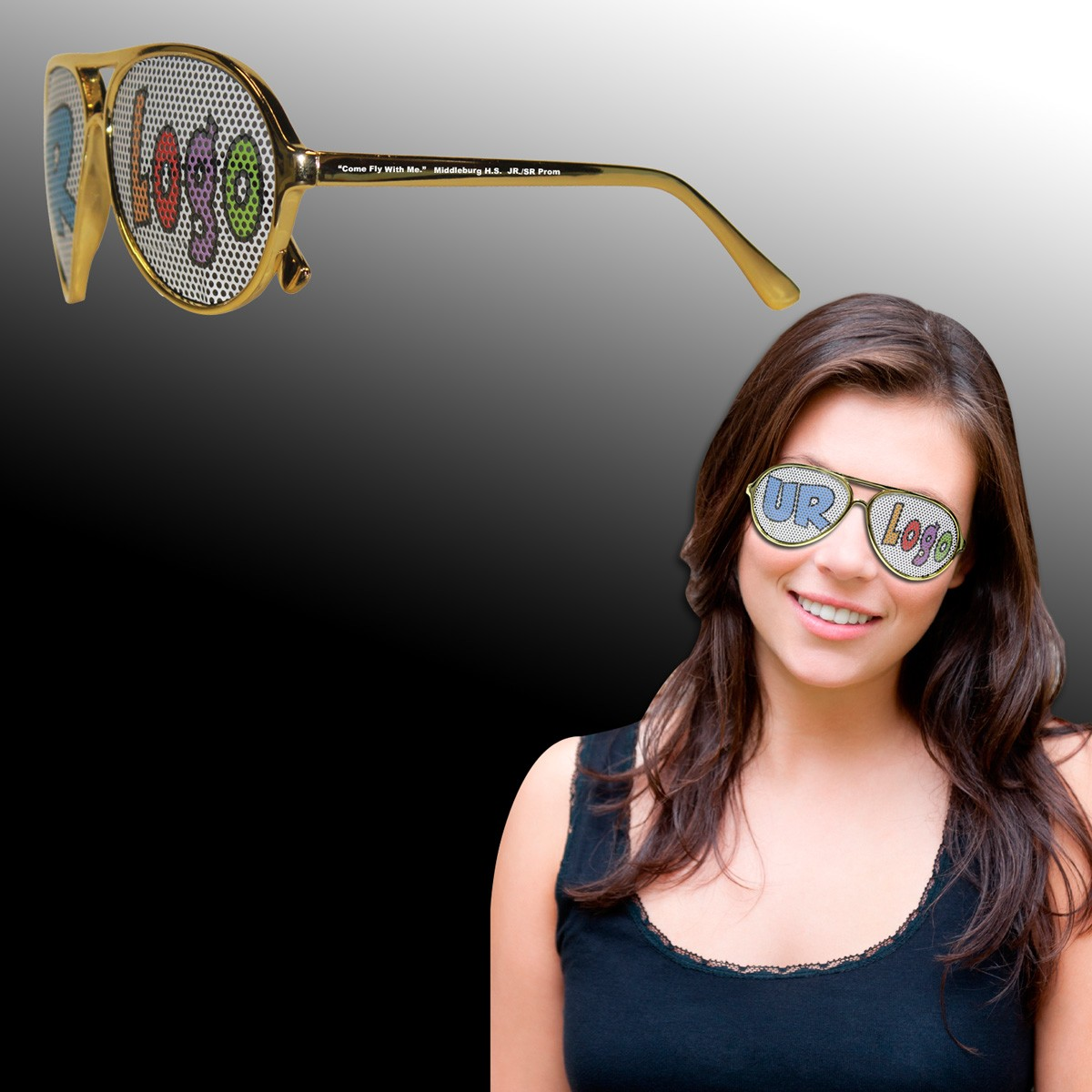 Gold Metallic Aviator Billboard Sunglasses