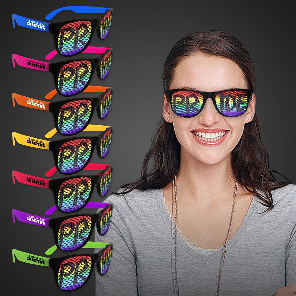 Rainbow Pride Neon Billboard Sunglasses