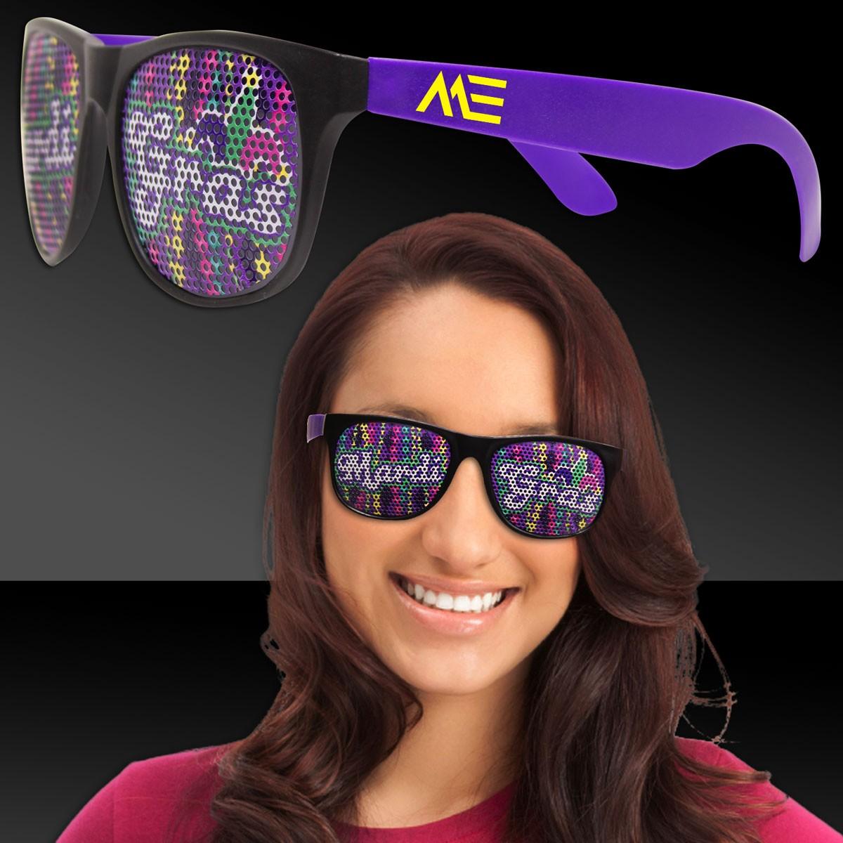 Mardi Gras Beads Purple Billboard Sunglasses