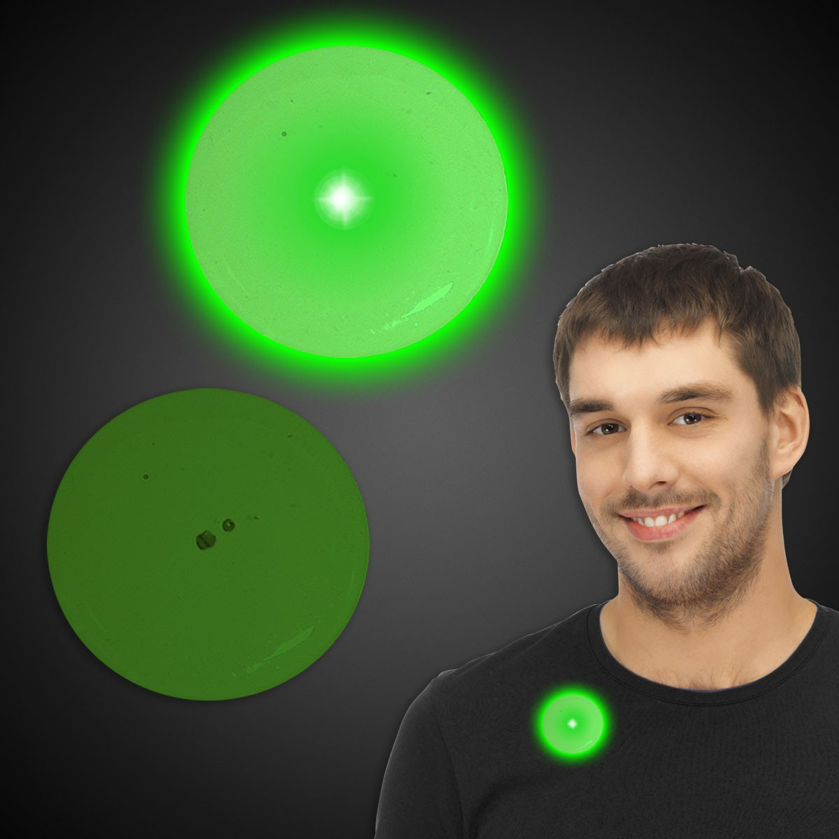 Flashing Green Circle LED Blinkies