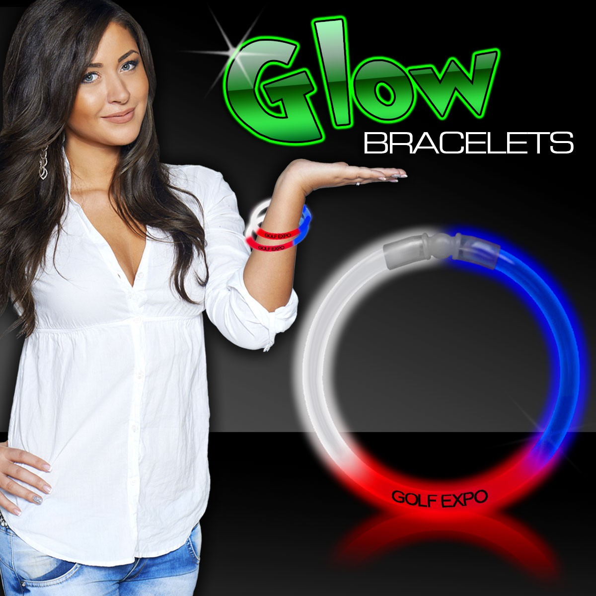 "Red/White/Blue Superior 8"" Glow Bracelets"