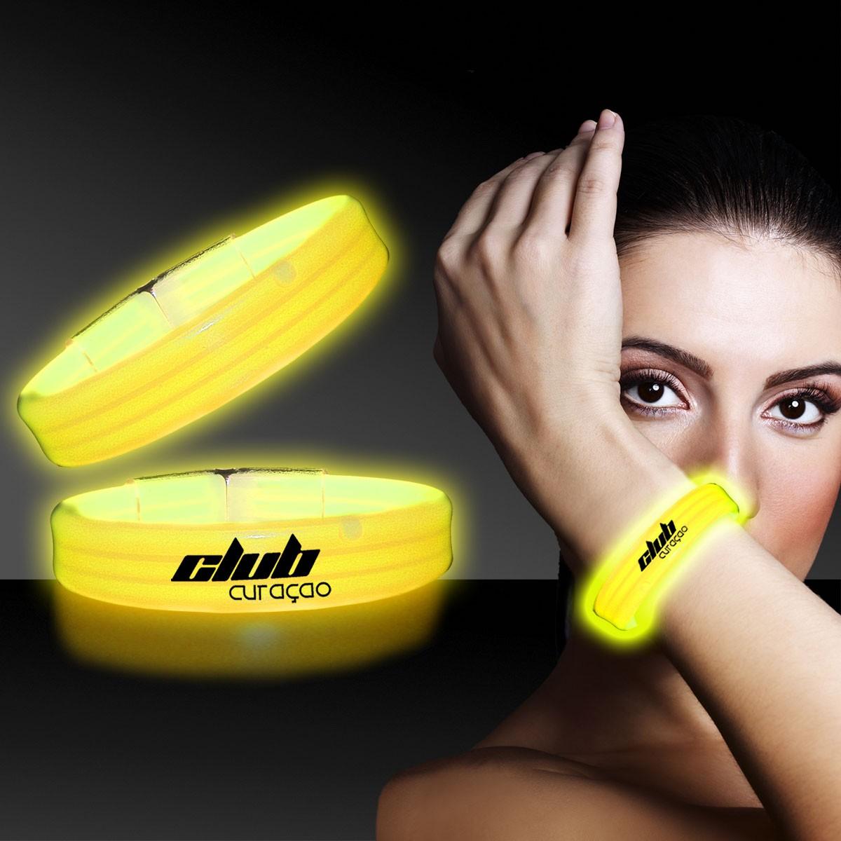 Yellow Deluxe Triple Wide 9 Inch Glow Bracelet