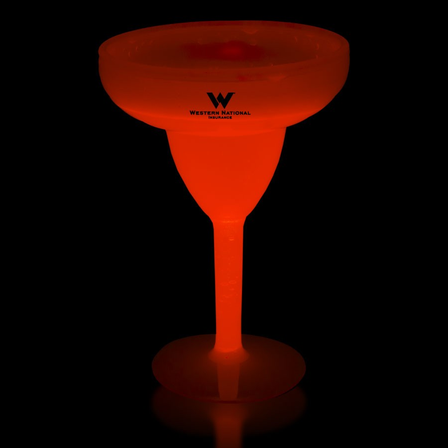 Red 10 Ounce Glow Margarita Glasses