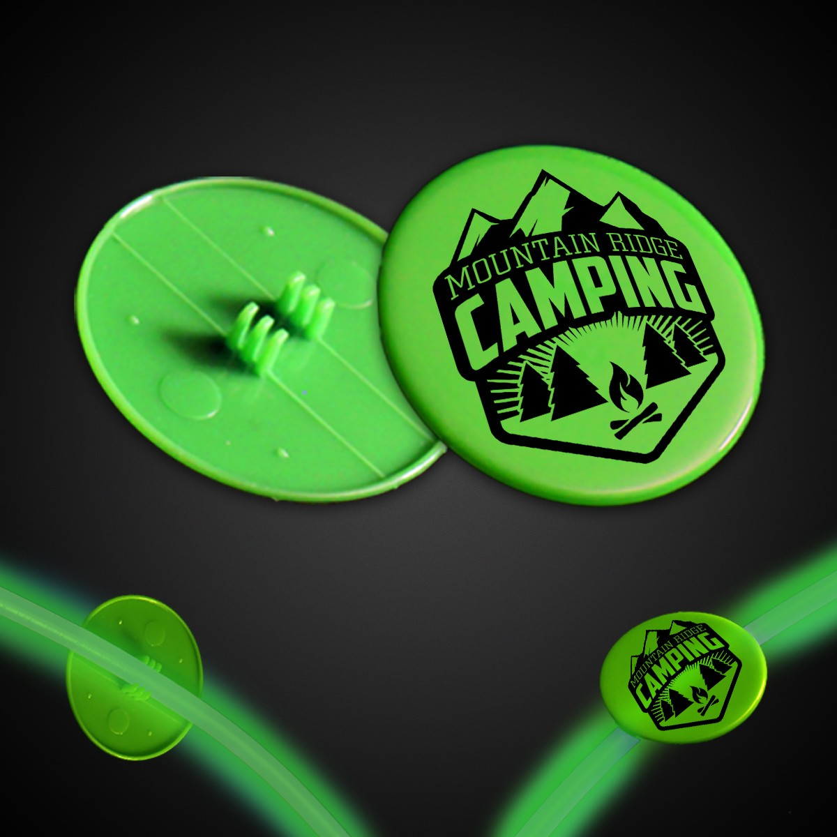 Green Clip On Plastic Medallion