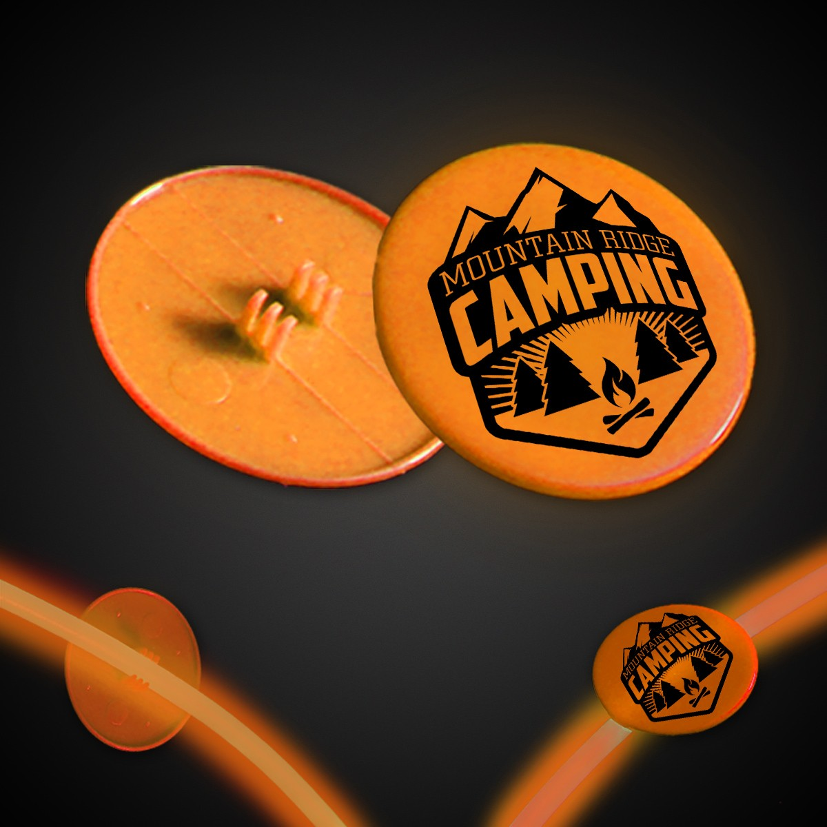 Orange Clip On Plastic Medallion