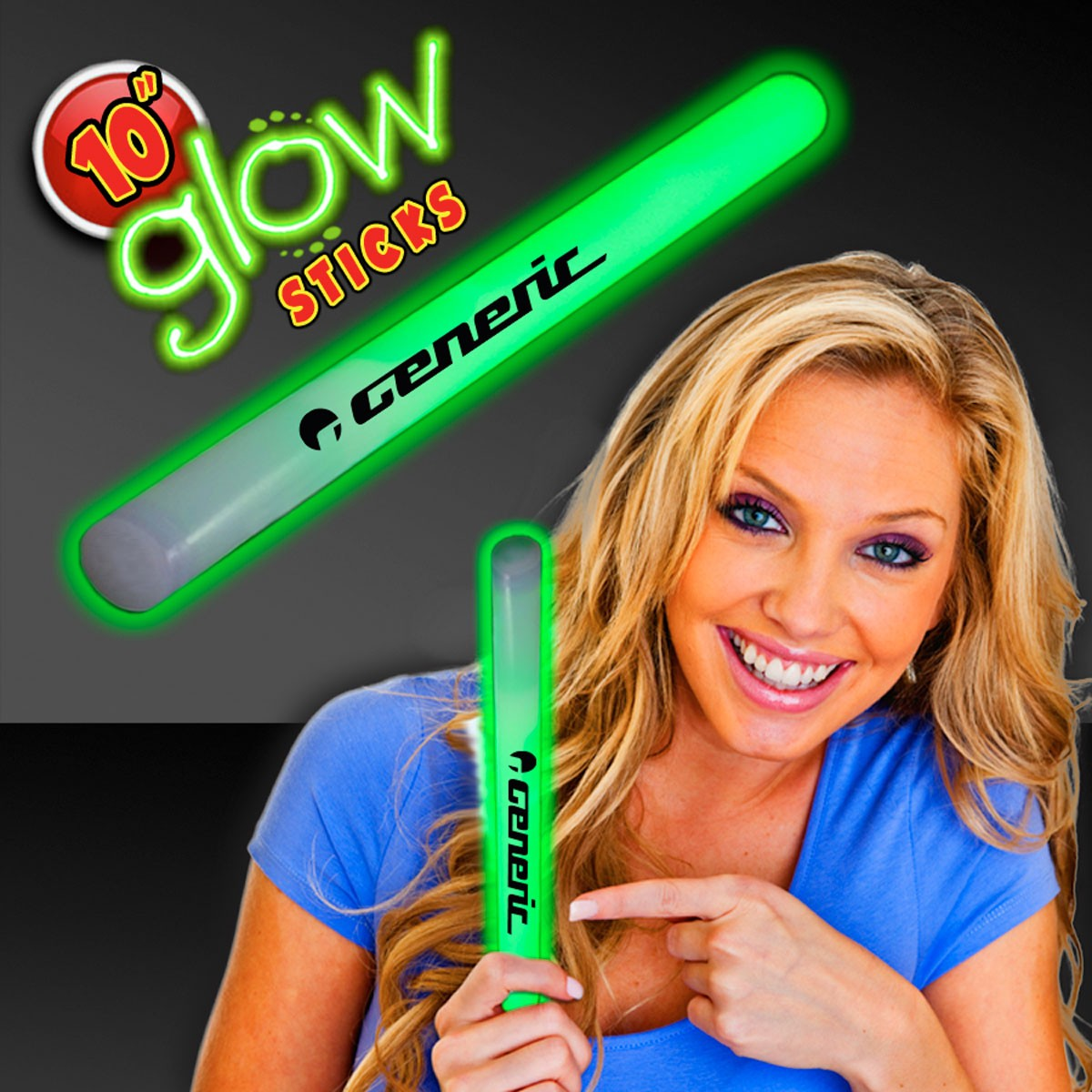 "Green 10"" Glow Sticks"