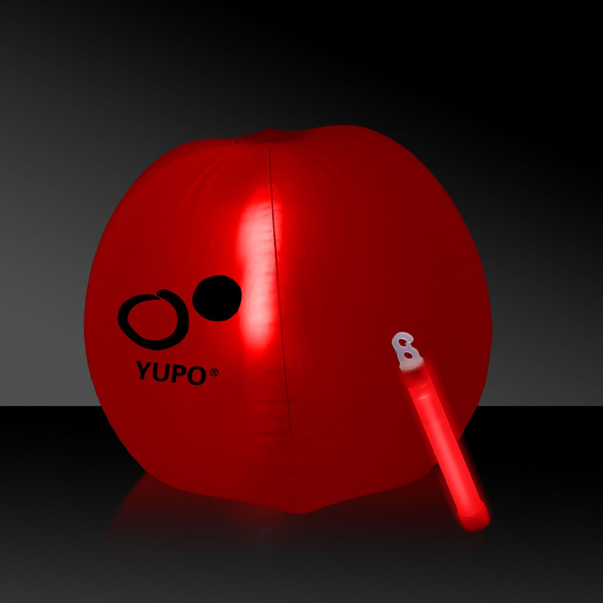 12 Inch Inflatable Beach Balls with 1 - 6 Inch RED Glow Stick