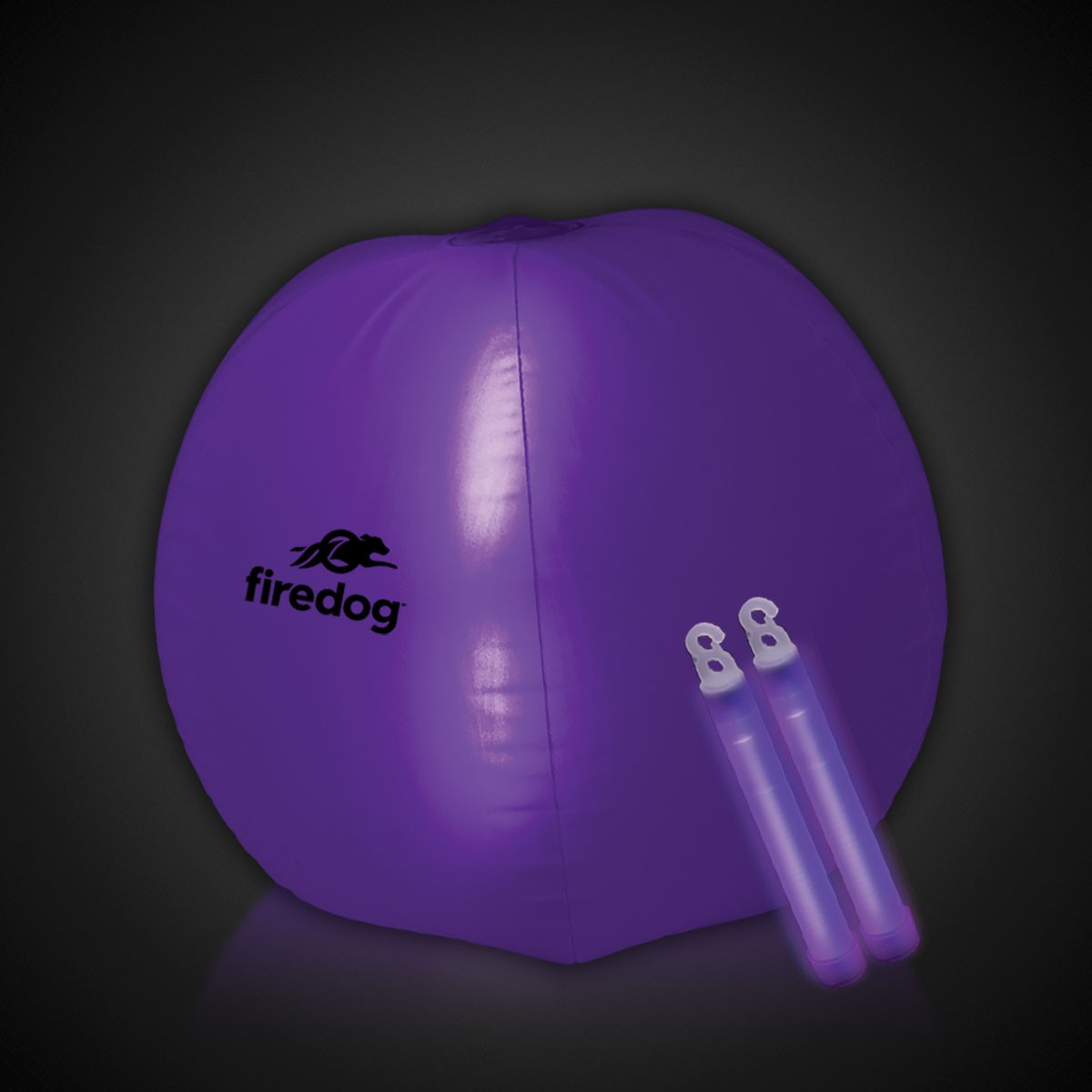 24 Inch Inflatable Beach Ball with 2 - 6 Inch PURPLE Glow Sticks