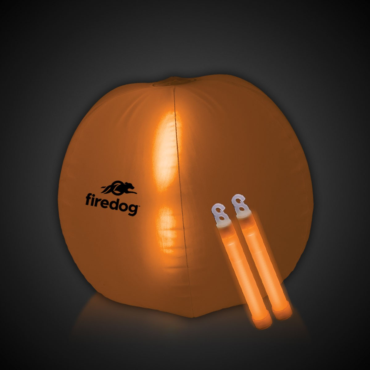 24 Inch Inflatable Beach Ball with 2 - 6 Inch ORANGE Glow Sticks