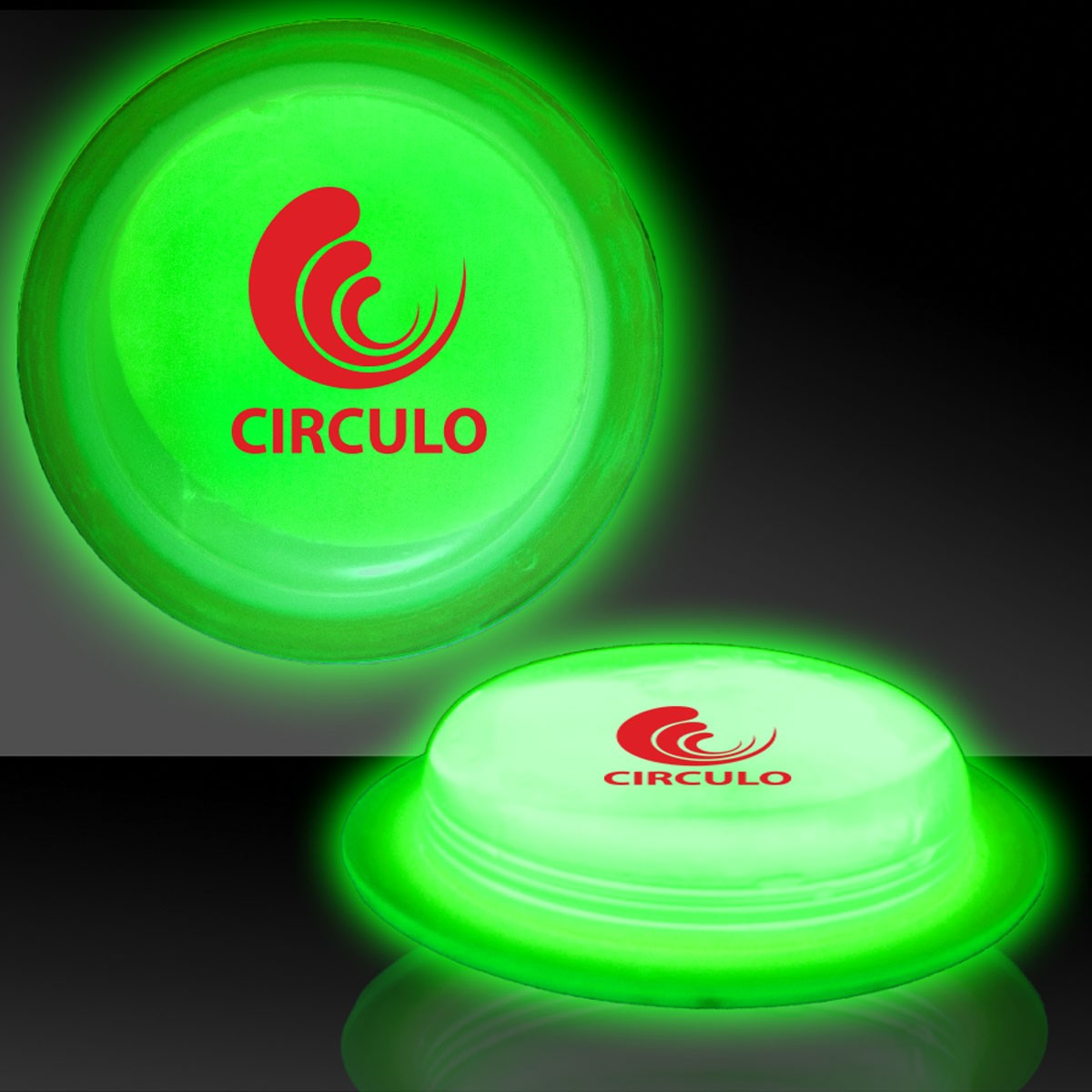 "3"" Green Glow Circle Badges"