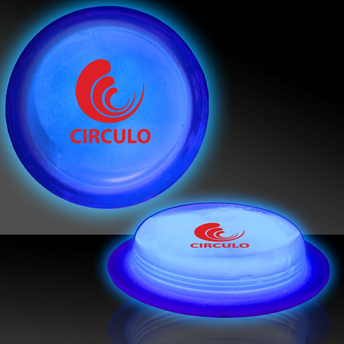 "3"" Blue Glow Circle Badges"