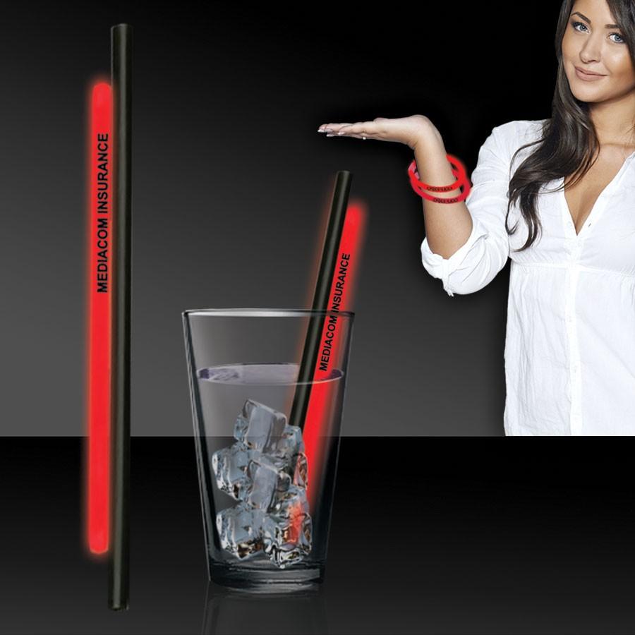 """Red 9"""" Glow Straws and Bracelets"""