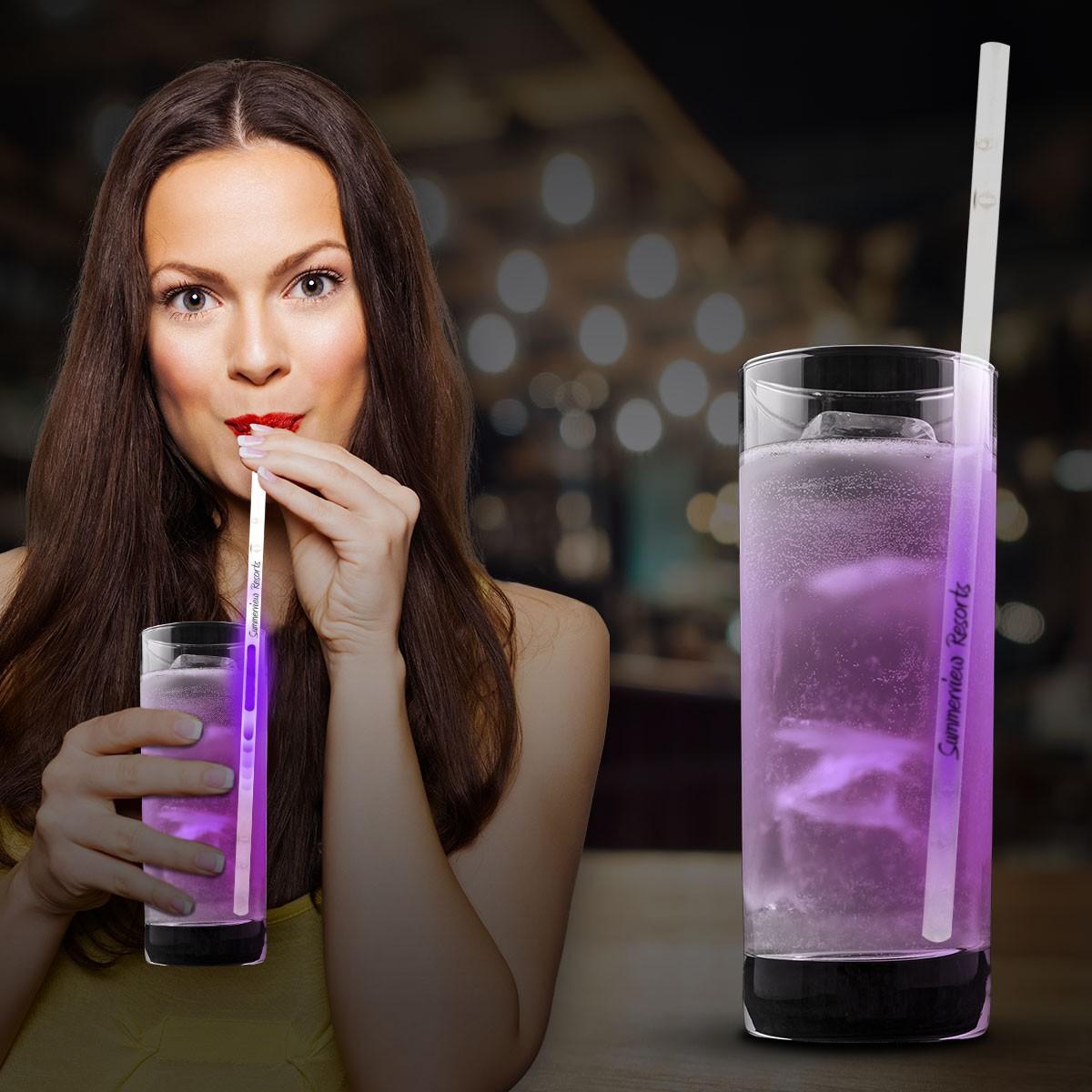 """Purple Glow Motion Straws - 9"""""""