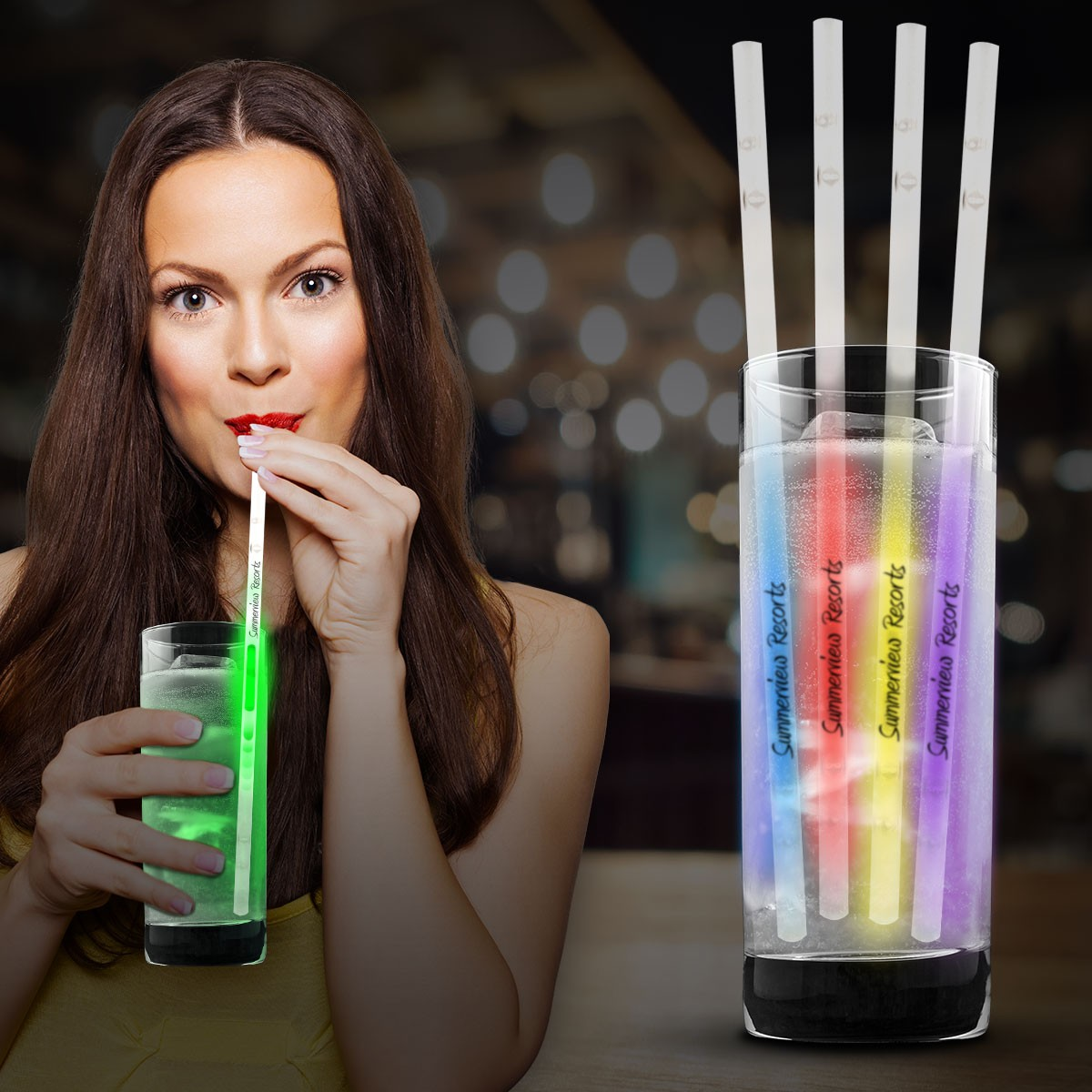 "Glow Motion Straws - 9"" - Variety of Colors"