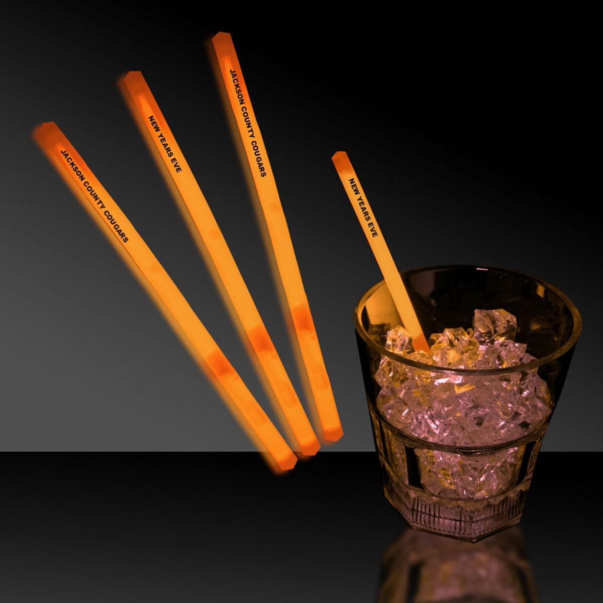 """Orange 5"""" Glow Swizzle Sticks/Drink Stirrers"""