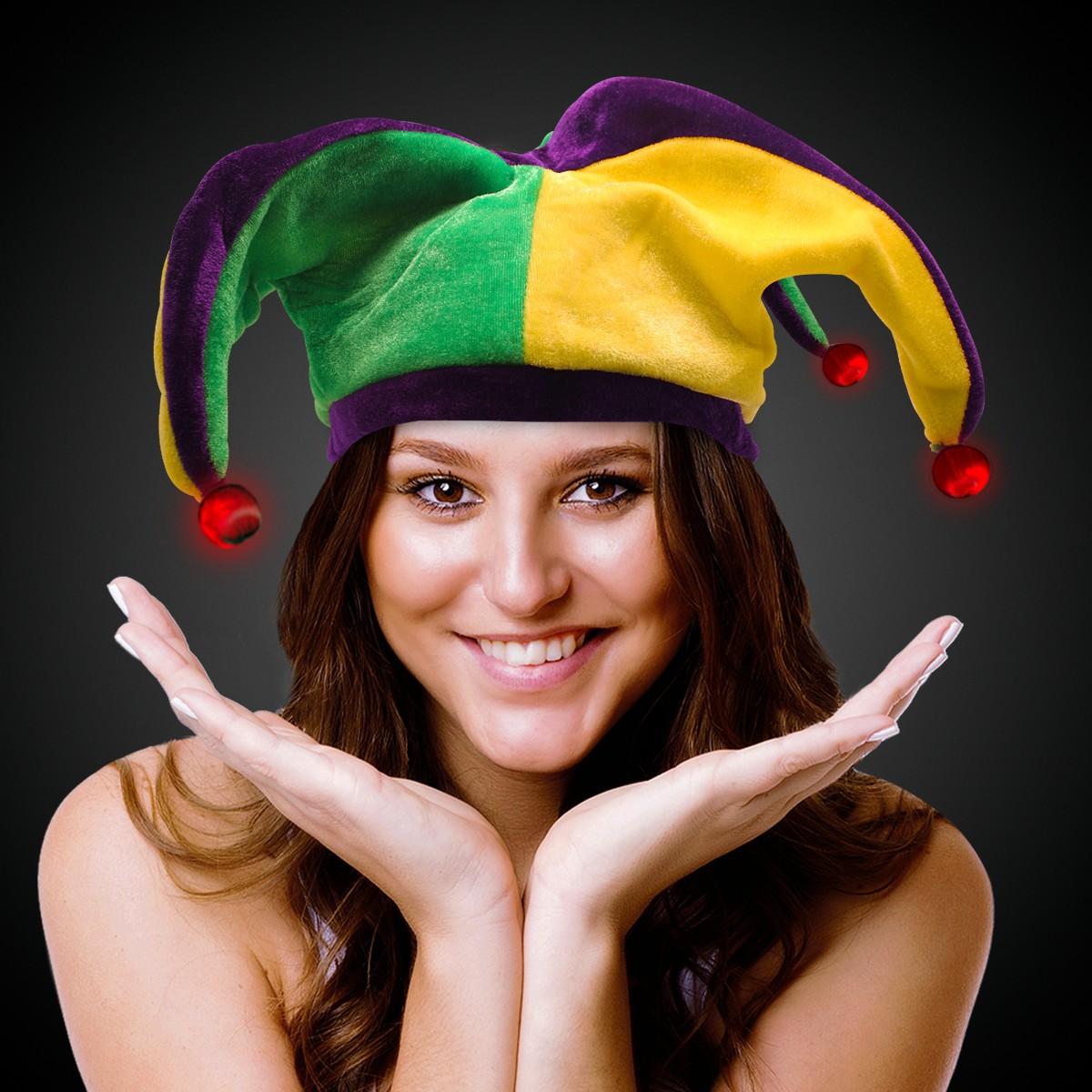 LED Mardi Gras Velvet Jester Hat