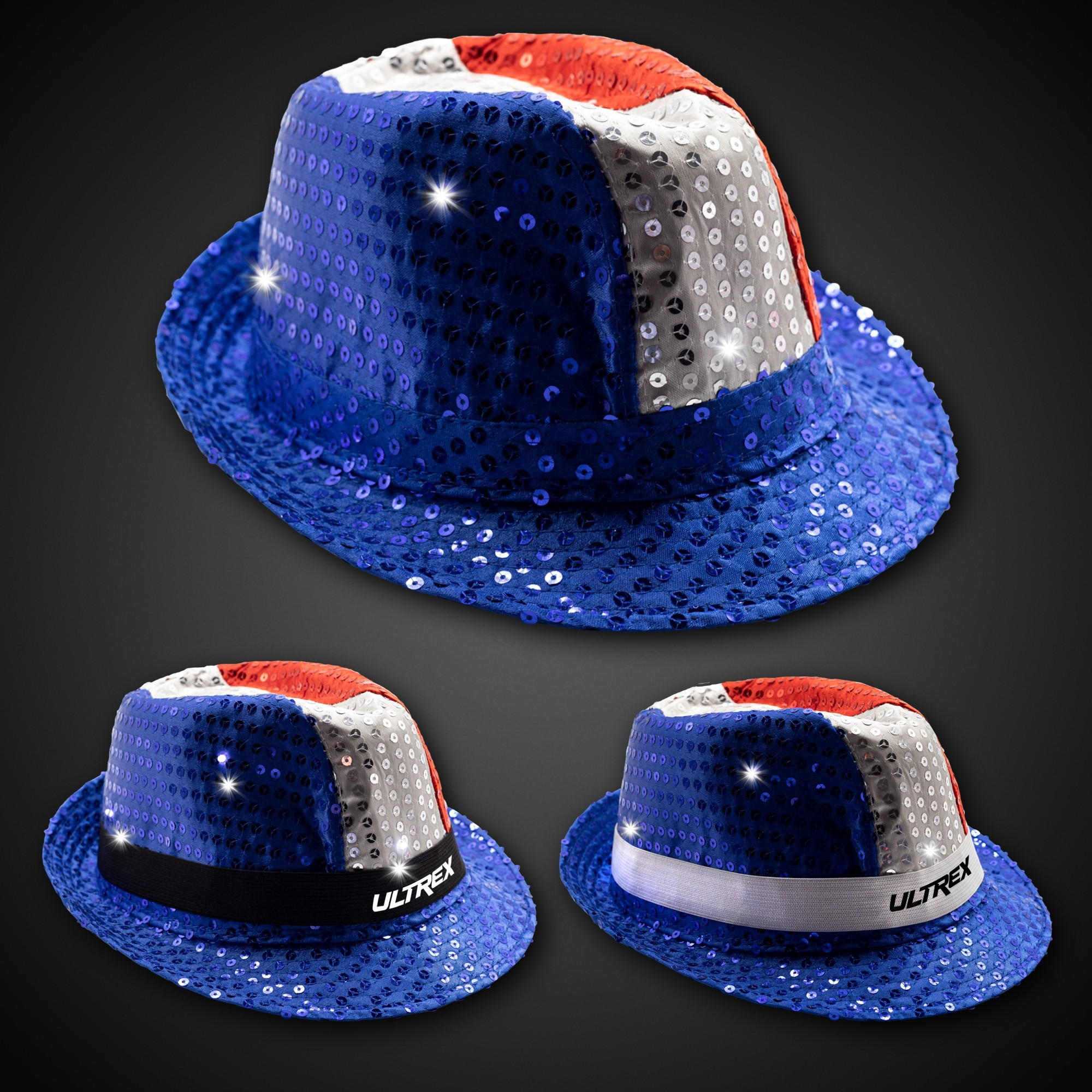 Patriotic Sequin LED Fedora (Imprintable Bands Available)
