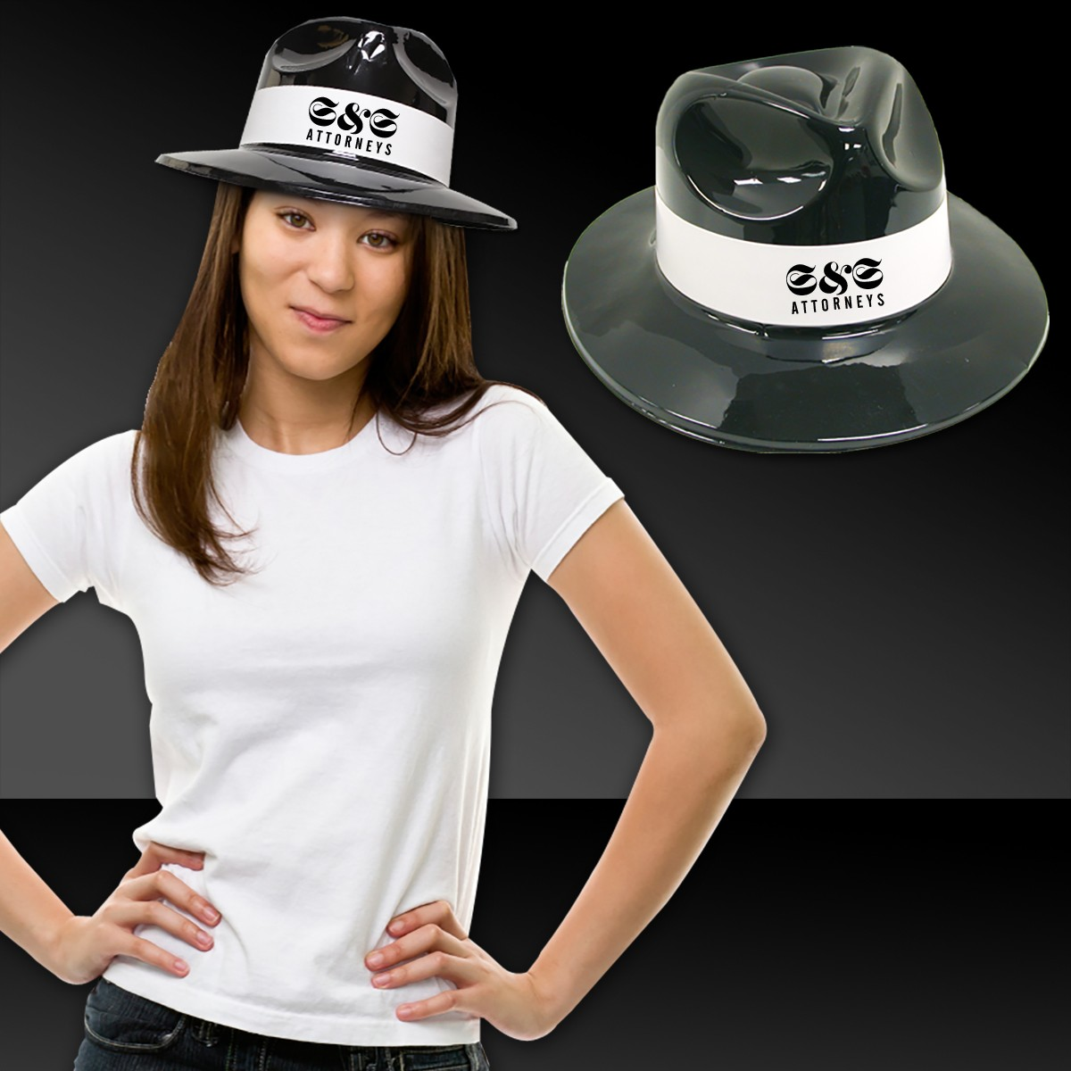 Black Plastic Fedora with White Band