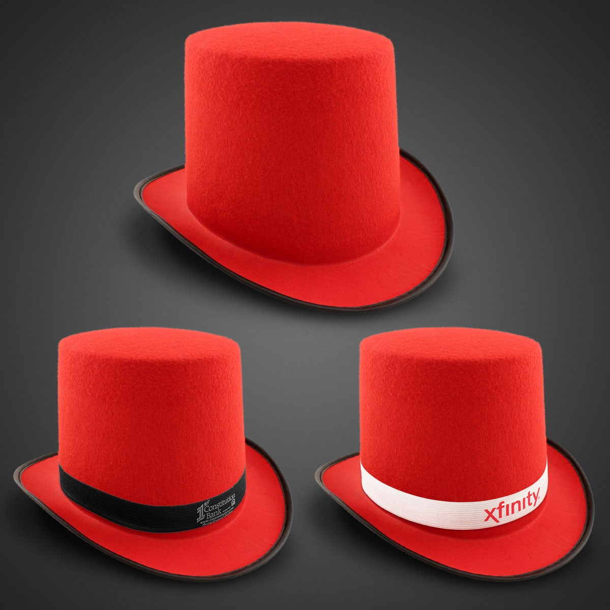 Red Felt Top Hat (Imprintable Bands Available)