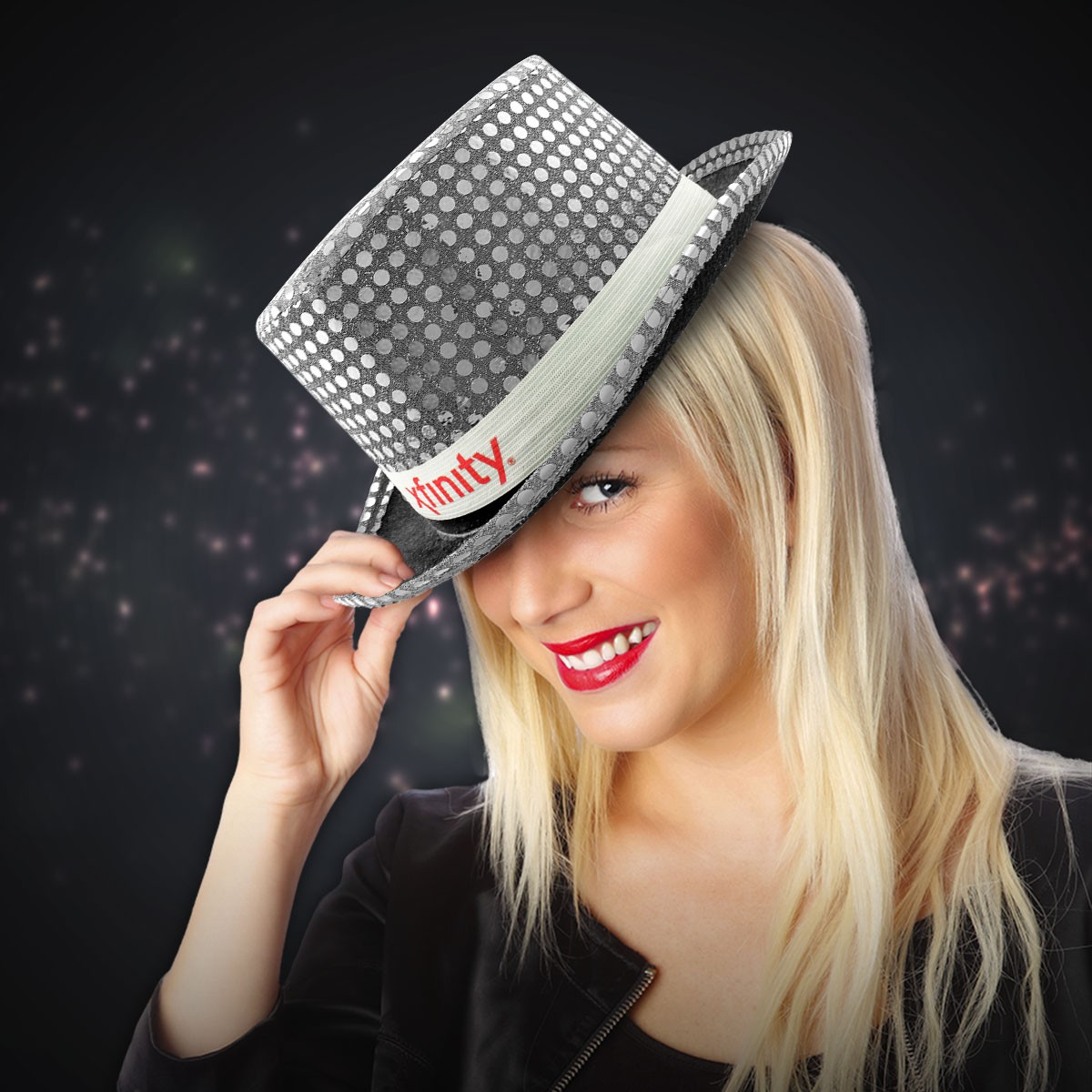 Silver Sequin Top Hats (Imprintable Bands Available)