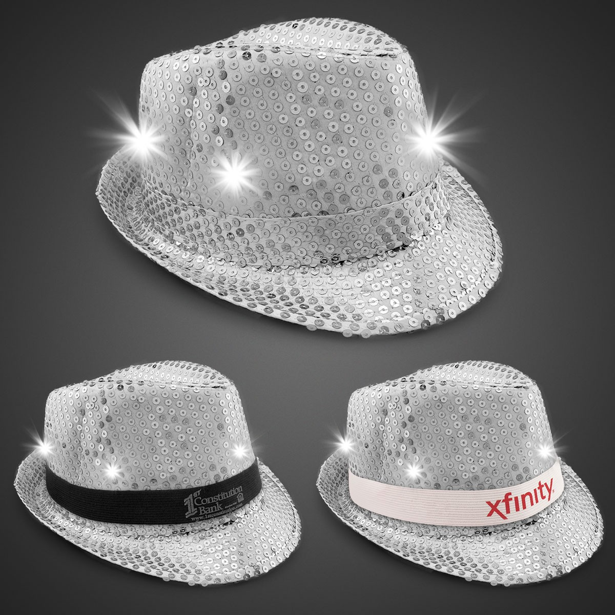 Silver Sequin LED Fedora Hats (Imprintable Bands Available)
