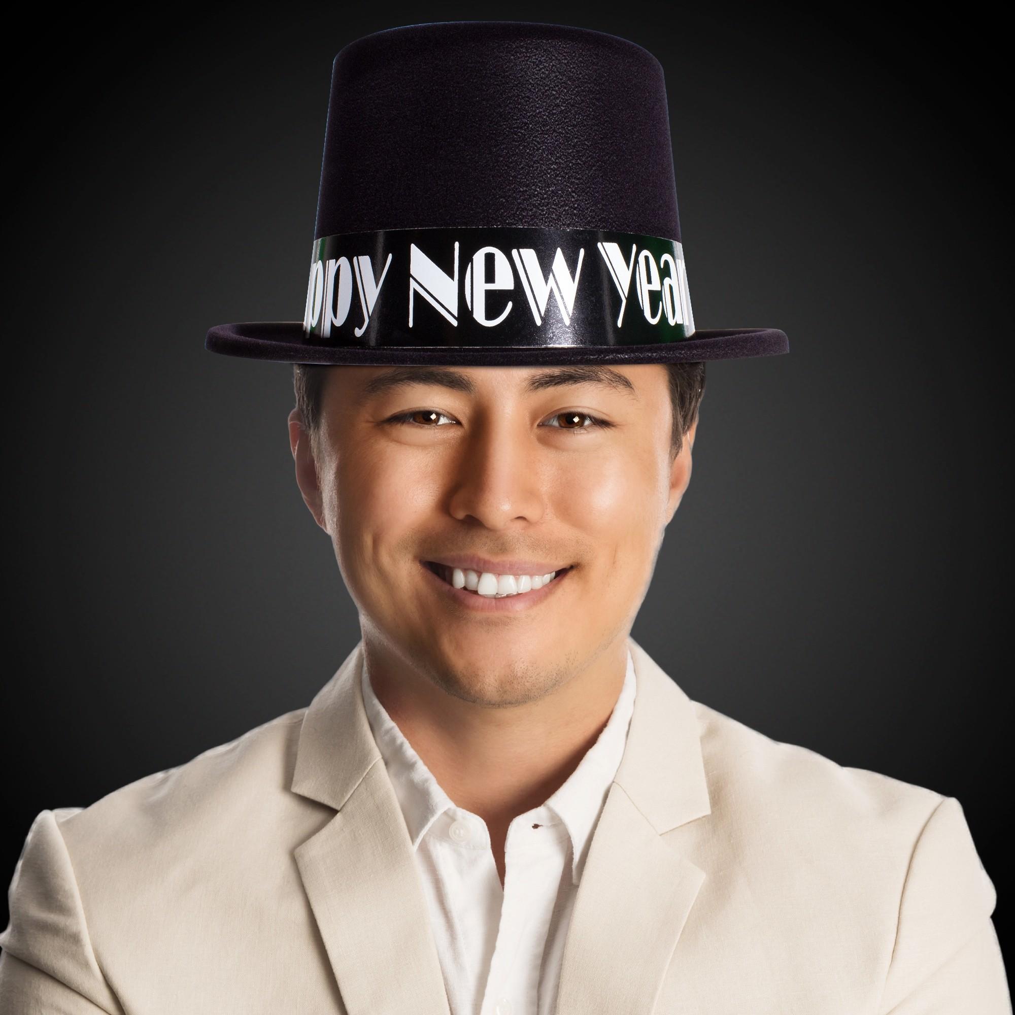 Black Happy New Year Top Hat