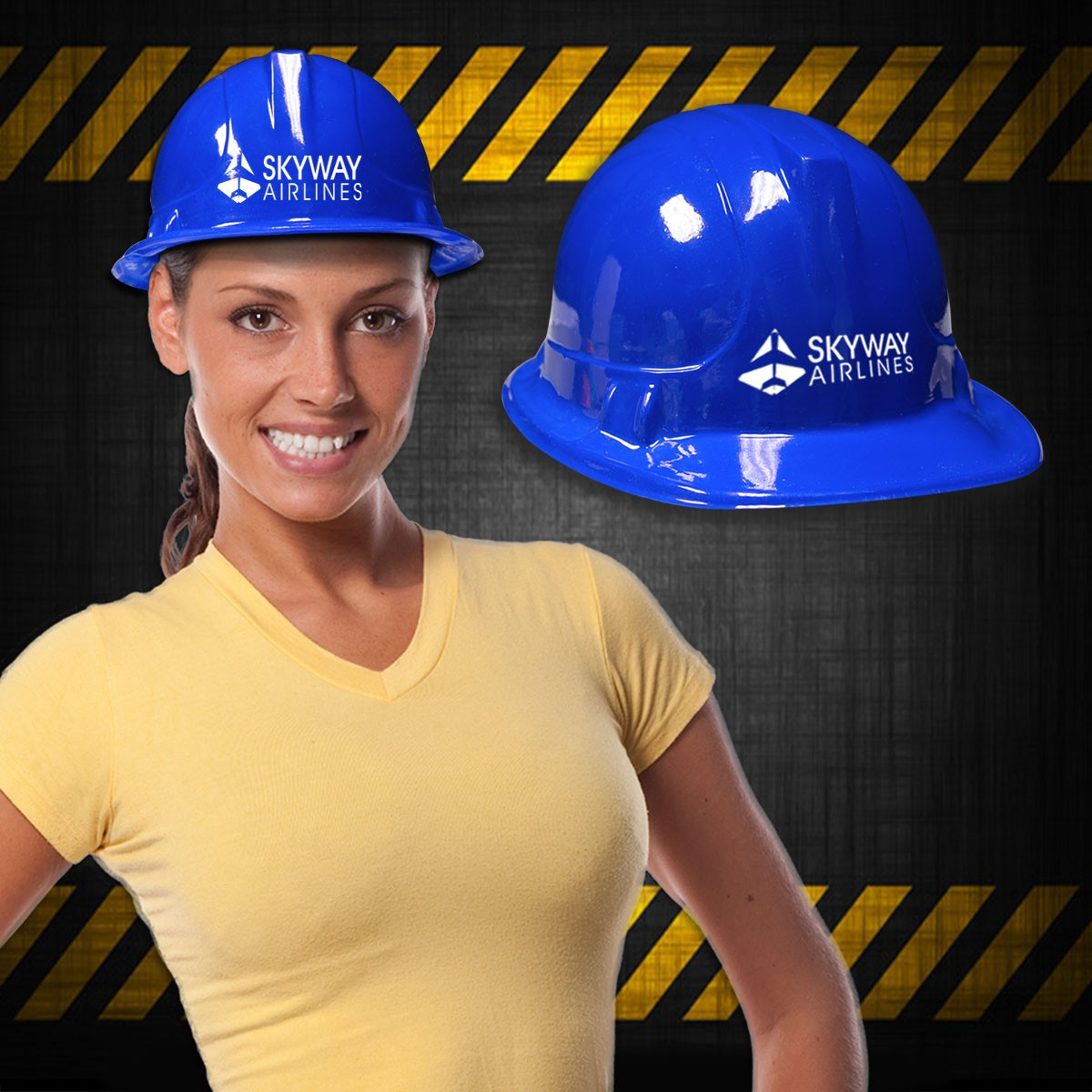 Blue Plastic Novelty Construction Hat