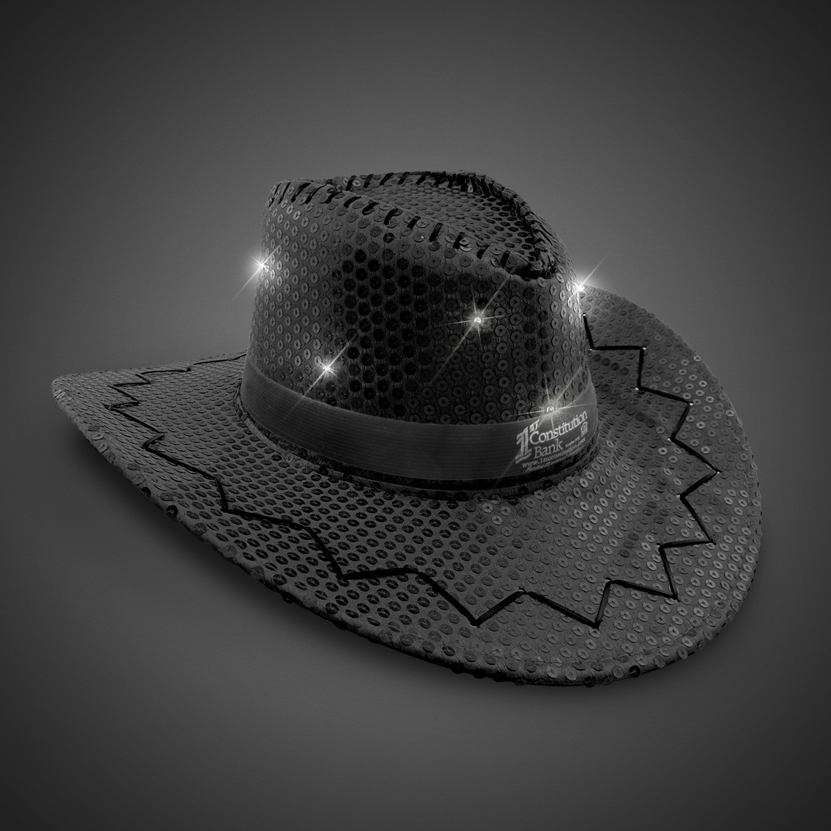 2752842ca6c Black Sequin LED Cowboy Hats (Imprintable Bands Available). Double click on  above image to view full picture
