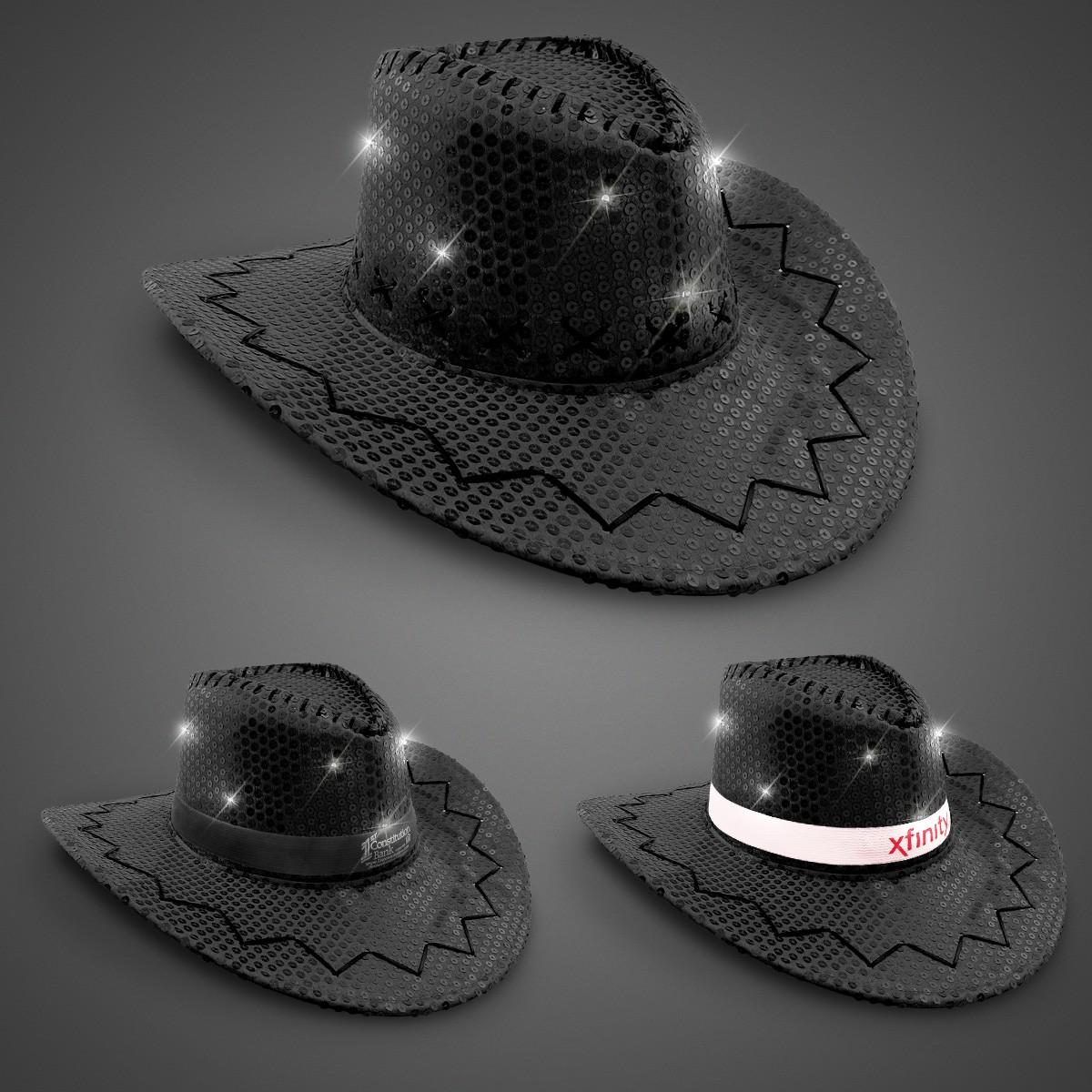 Black Sequin LED Cowboy Hats (Imprintable Bands Available)