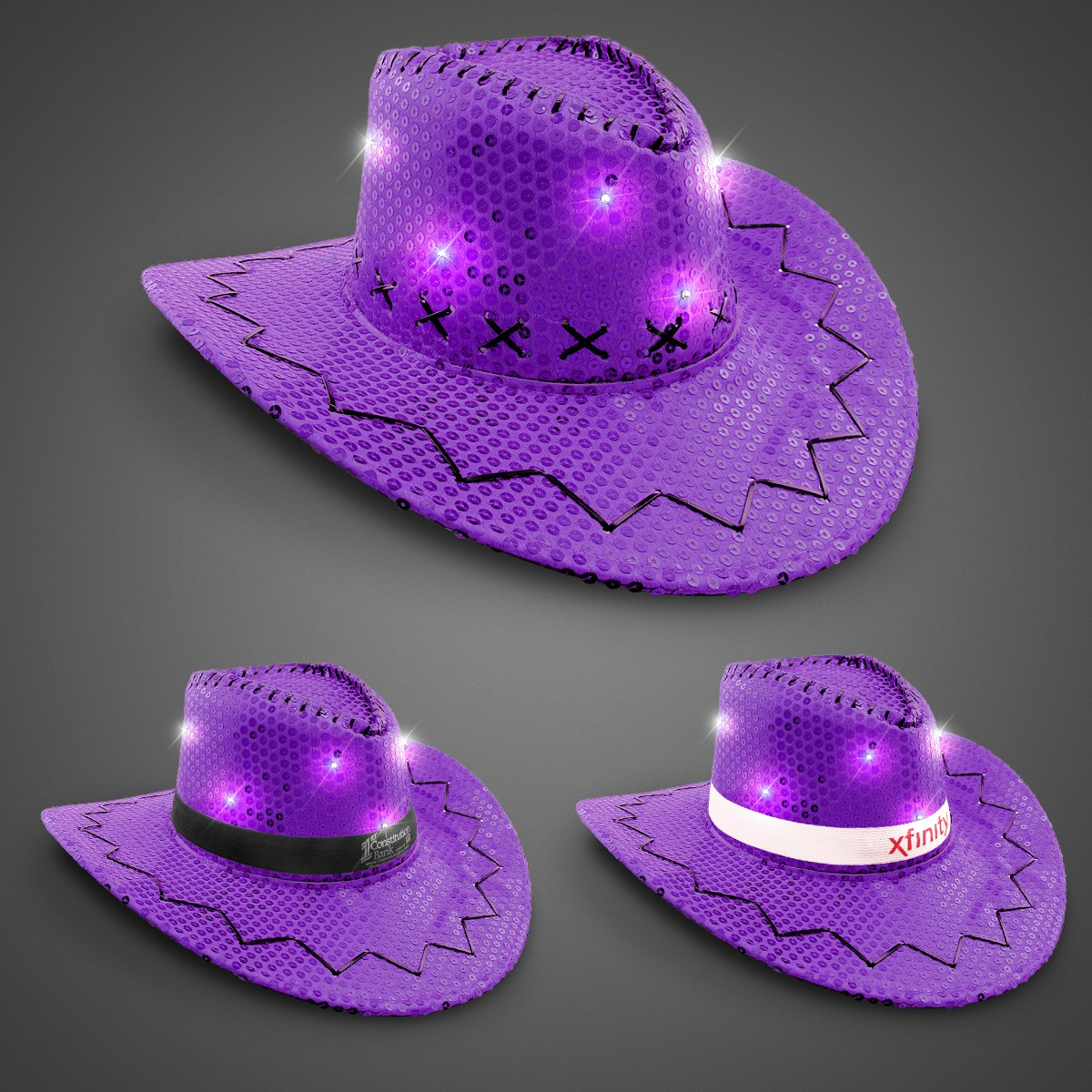 Purple Sequin LED Cowboy Hats (Imprintable Bands Available)