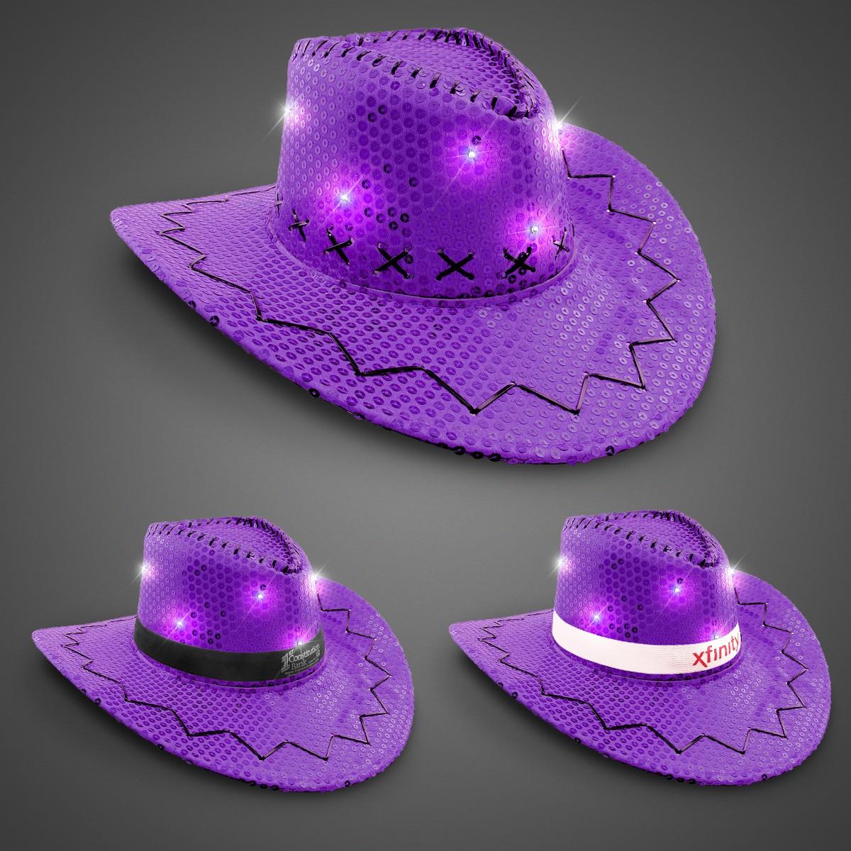 Purple Sequin LED Cowboy Hats (Imprintable Bands Available)