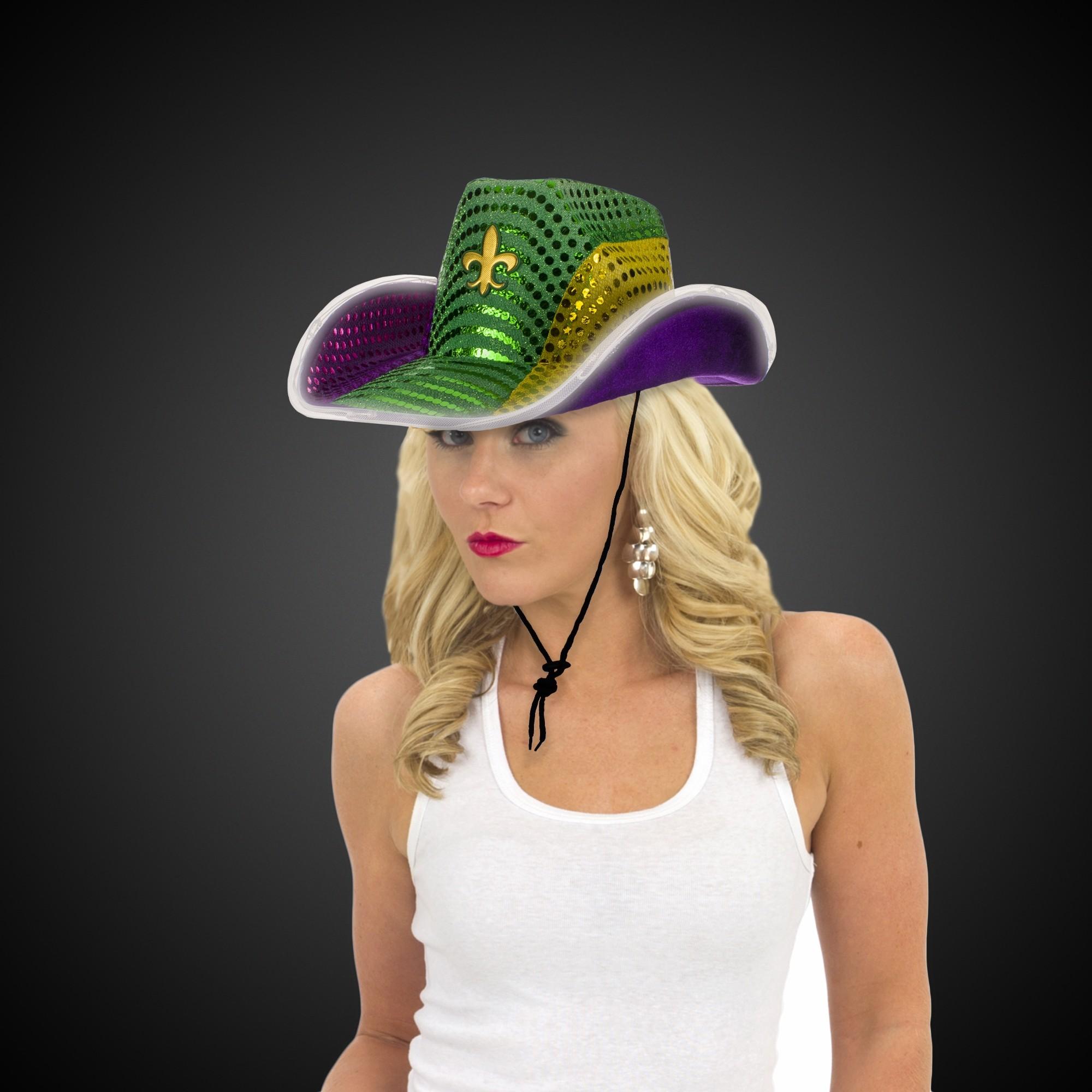 Mardi Gras LED Sequin Cowboy Hat