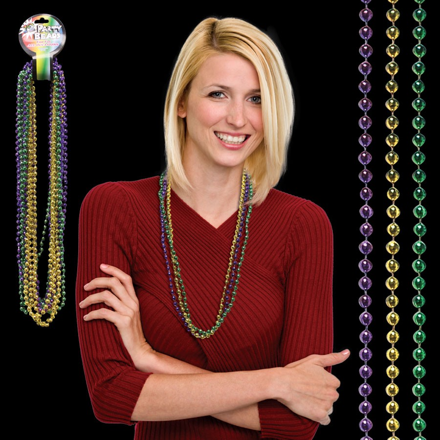 33 Inch, 7mm Mardi Gras Bead Necklaces