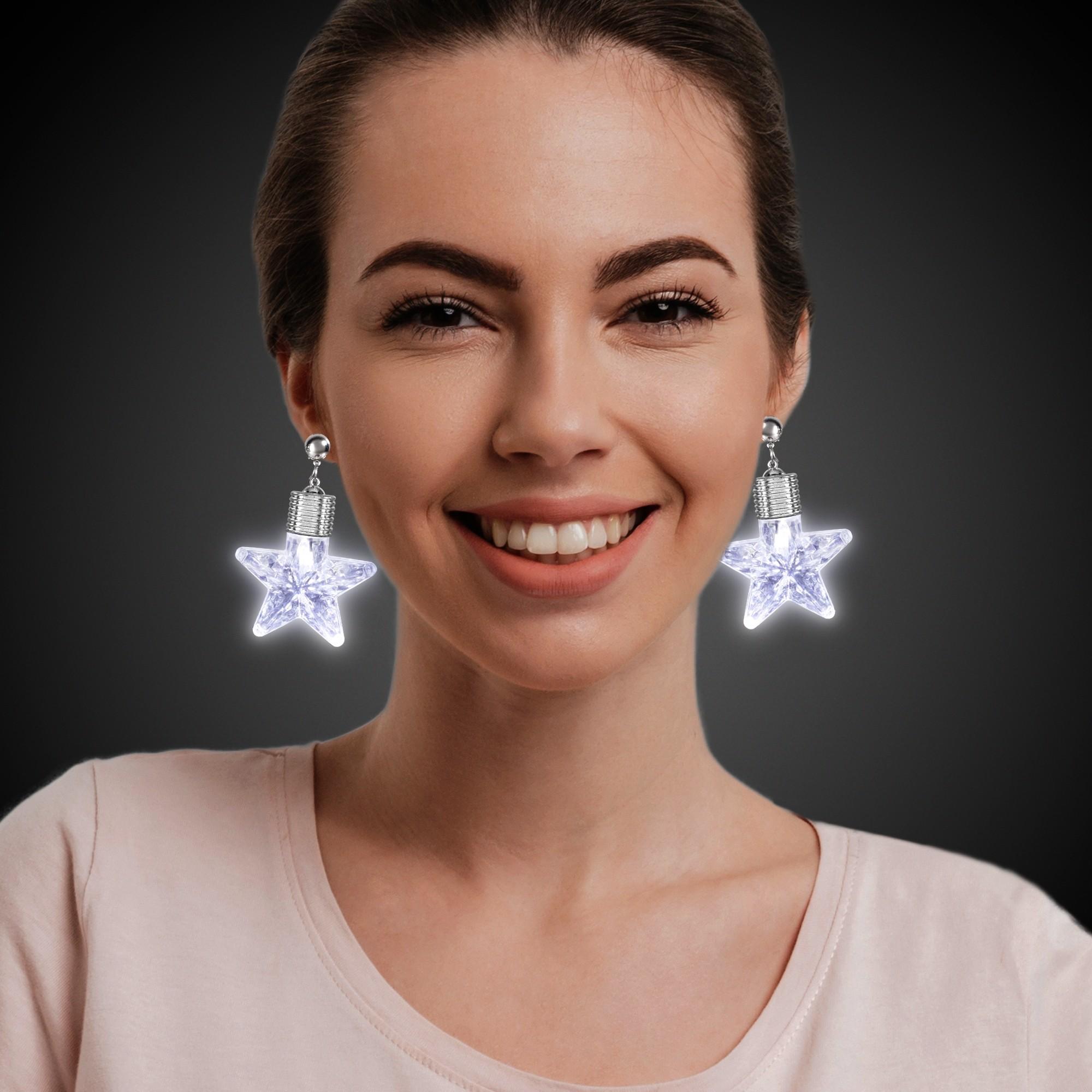 White Star LED Clip On Earrings