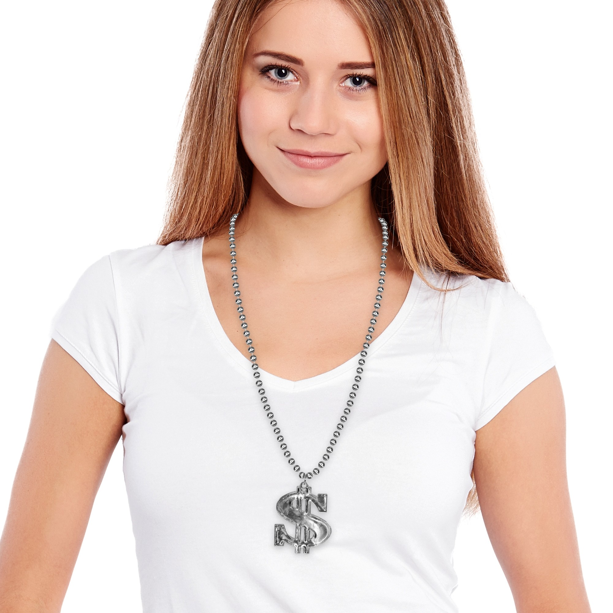 Silver Dollar Sign Beads