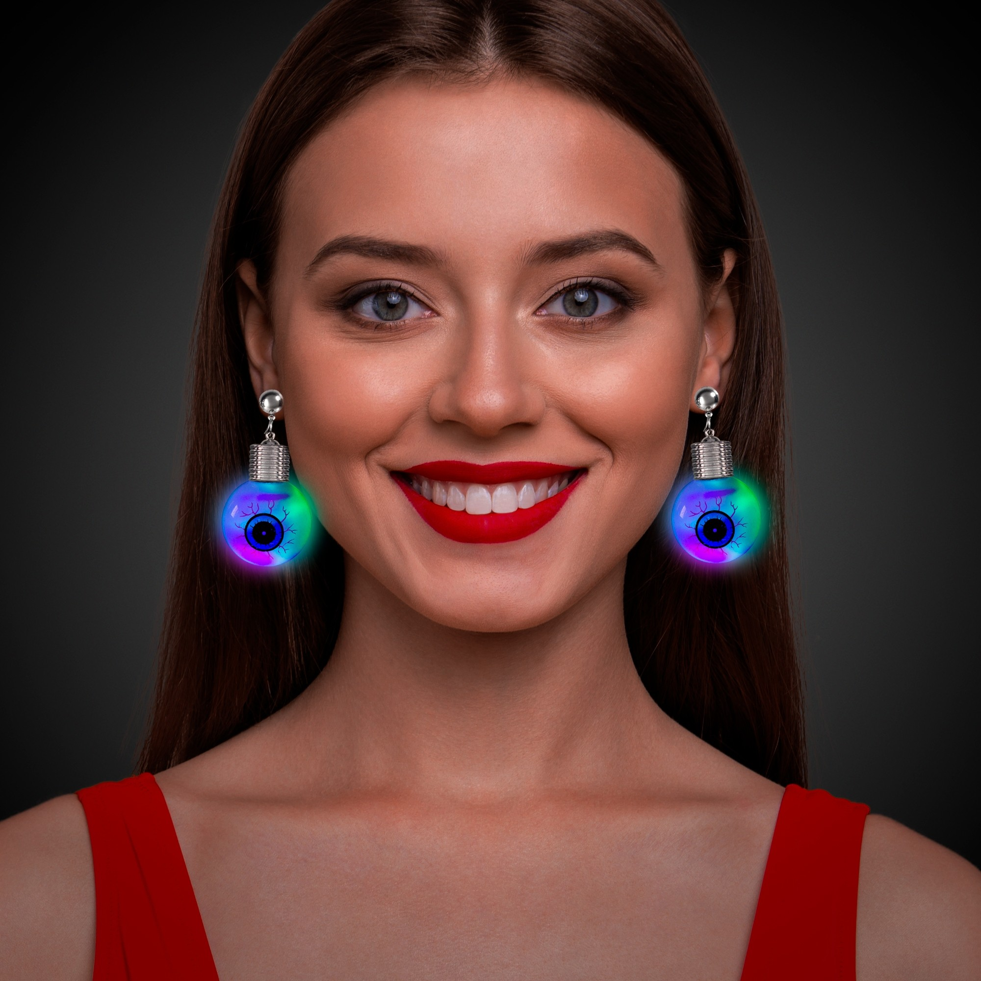 Jumbo Eyeball LED Clip-On Earrings