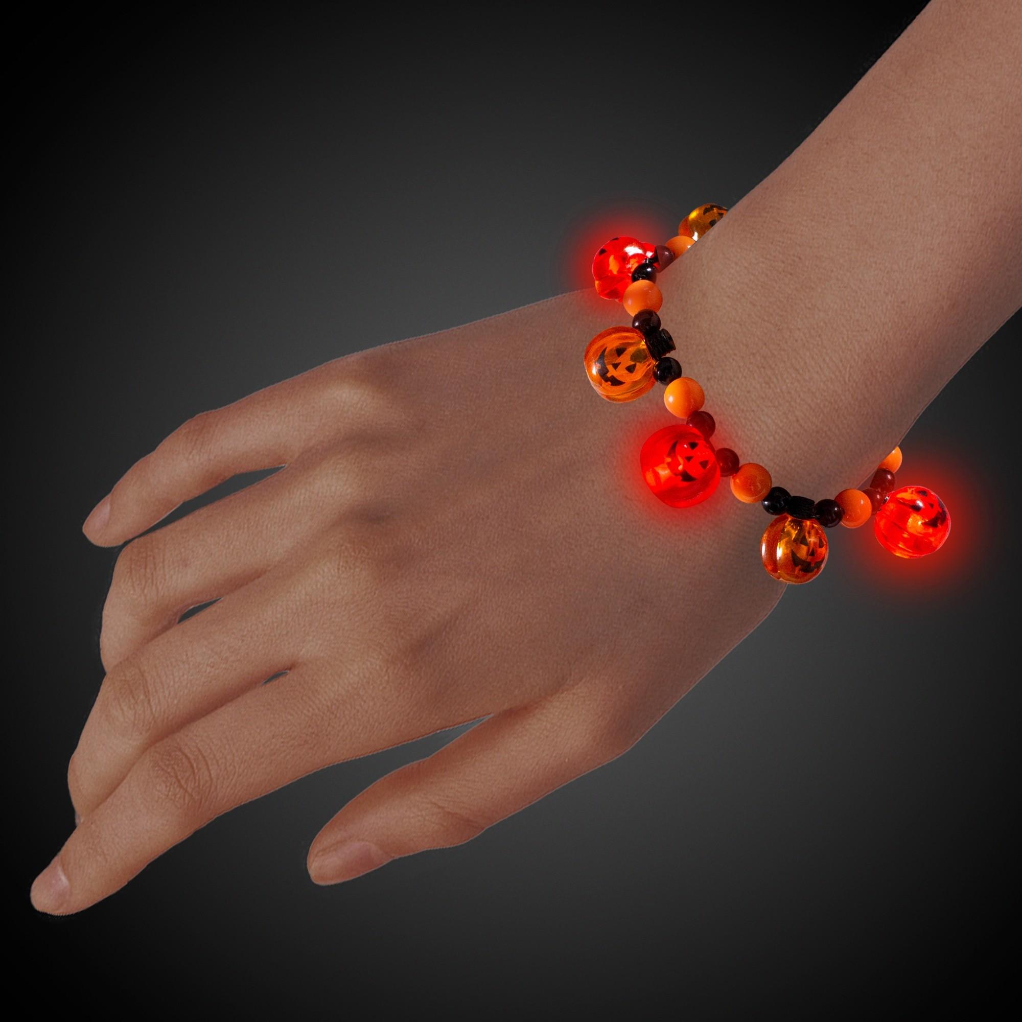 LED Pumpkin Bead Bracelet