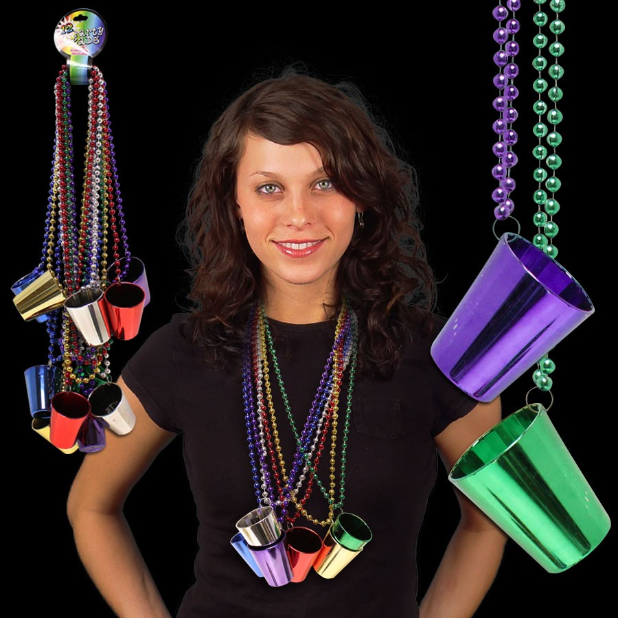 2 Oz Shot Glass Necklace -Assorted Colors