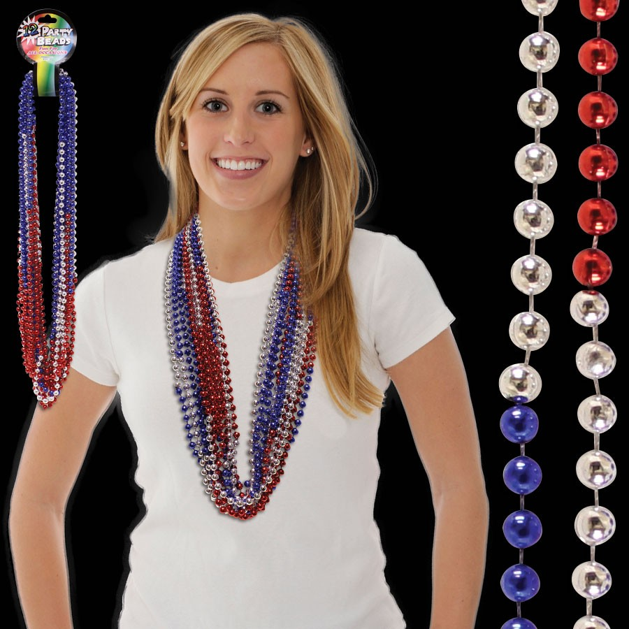 Red Silver and Blue Beaded Necklace