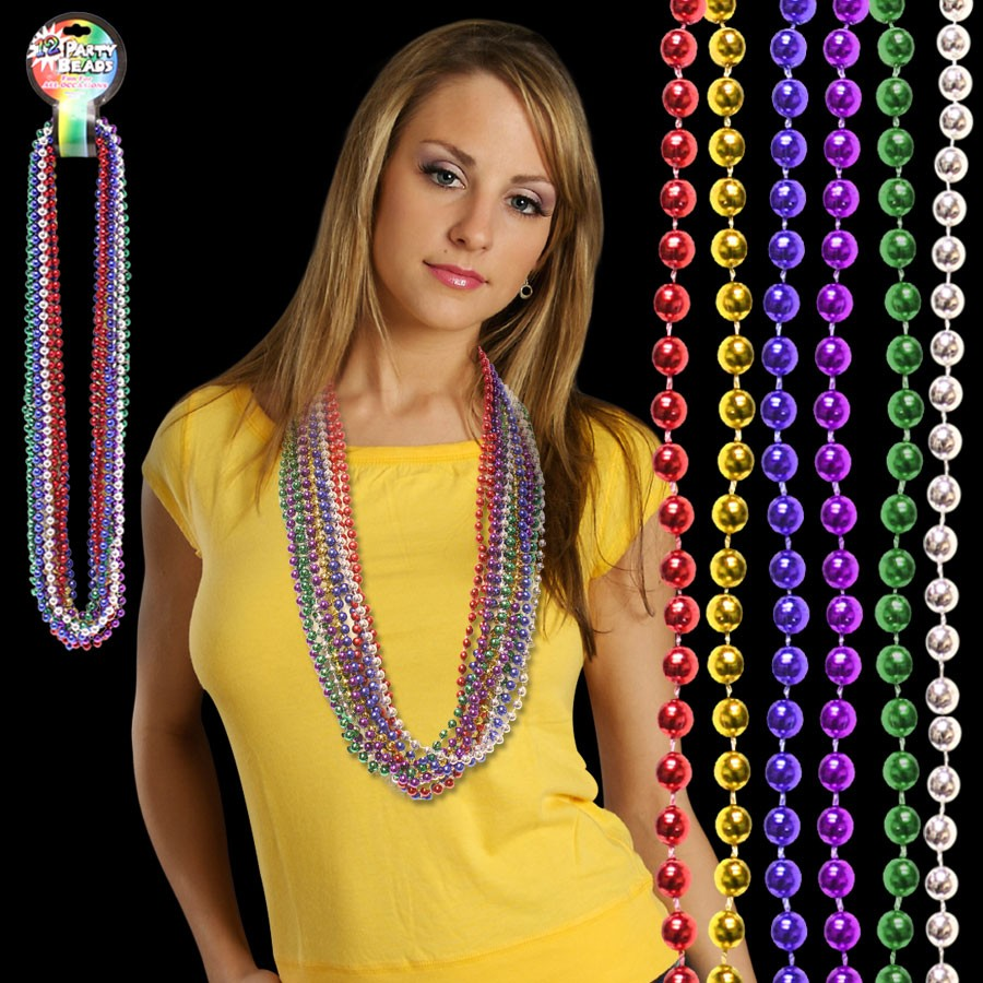 Assorted Color Metallic 33 Inch Beaded Necklaces